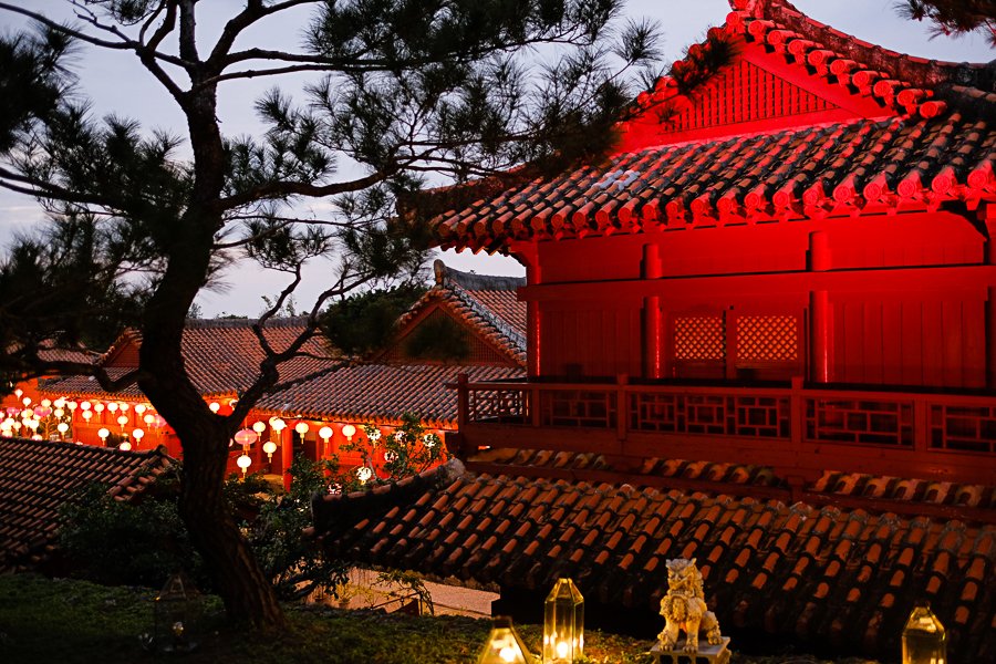 recreated Okinawan buildings with traditional tiled roofs