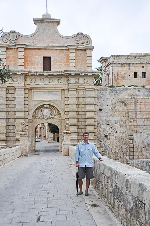 rebuilt entrance to Mdina, central city area