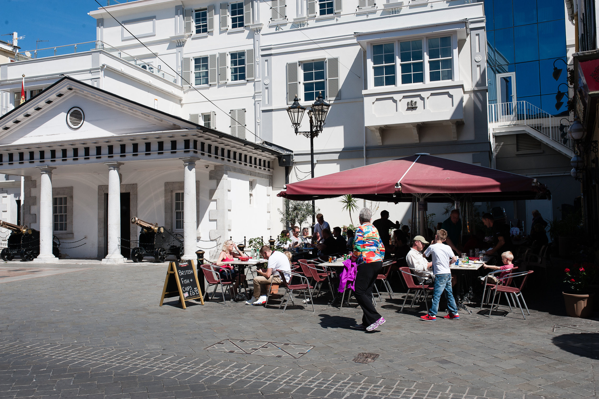 Fish and chips in front of the courthouse in Gibraltar.