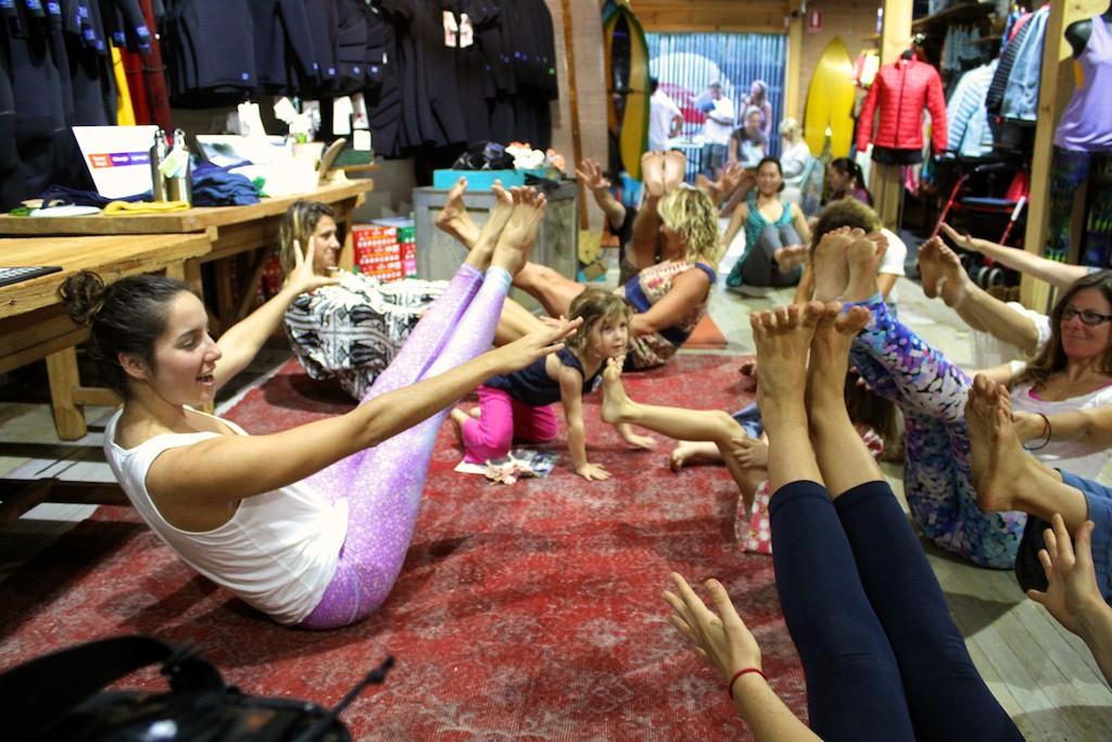 Bess Prescott  leading the playful Balance Yoga session