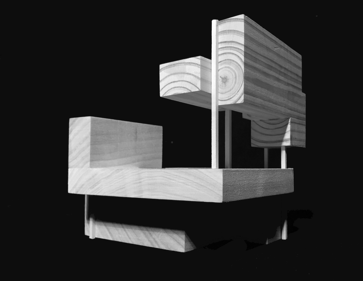 Relating tectonic pieces to stereotomic mass. Poplar wood. 01/02