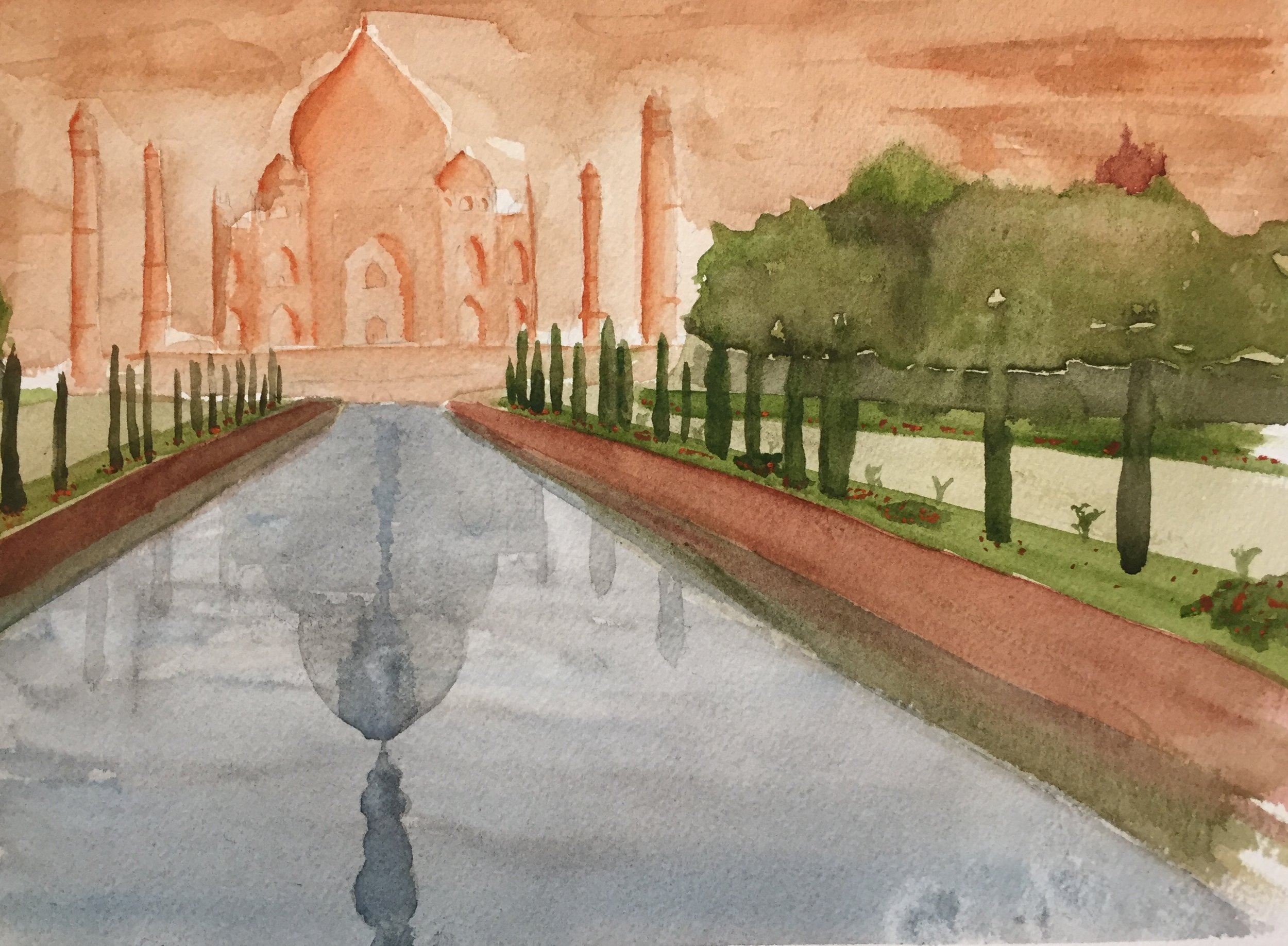 Taj Mahal Gardens Revealing Tomb.  Watercolor on Arches paper.
