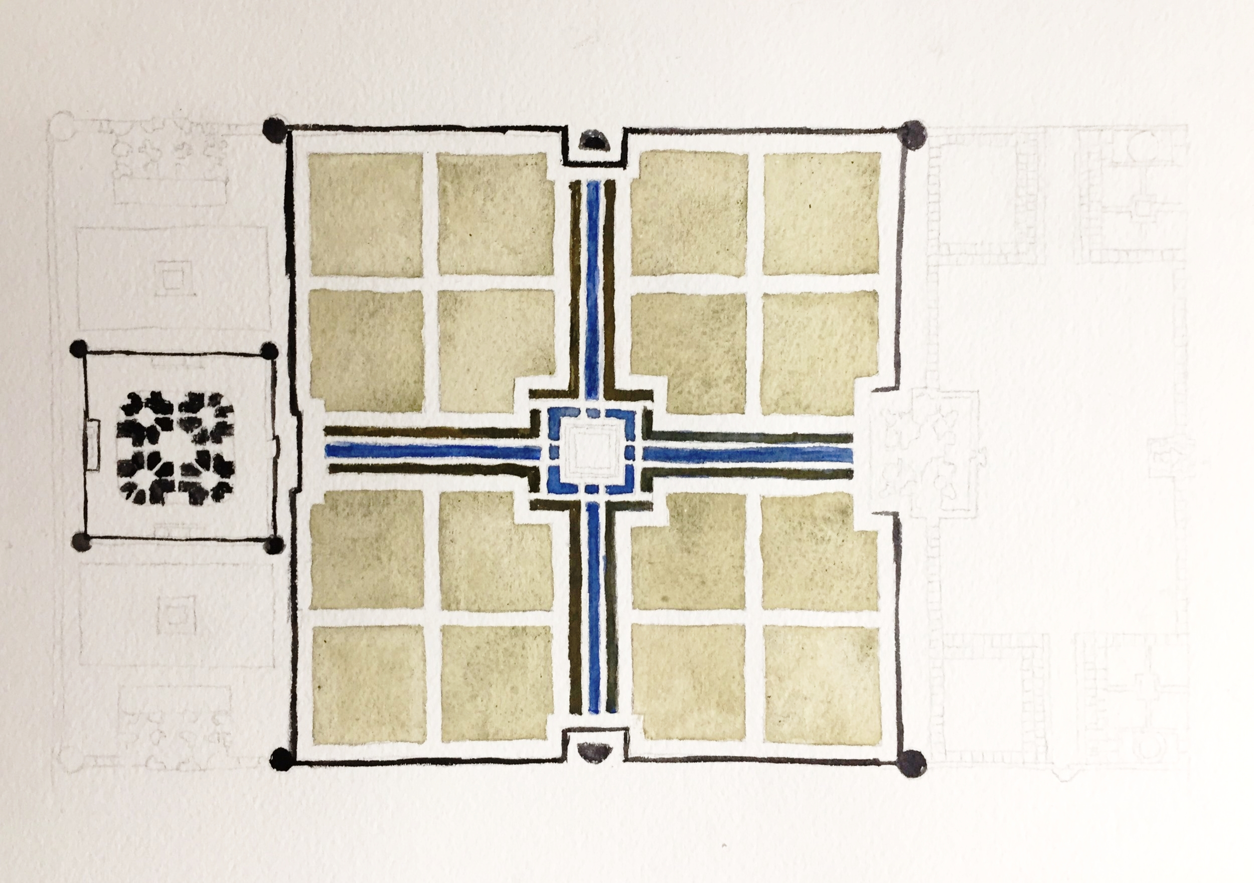 Plan of the Taj Mahal.  Watercolor on Arches paper.