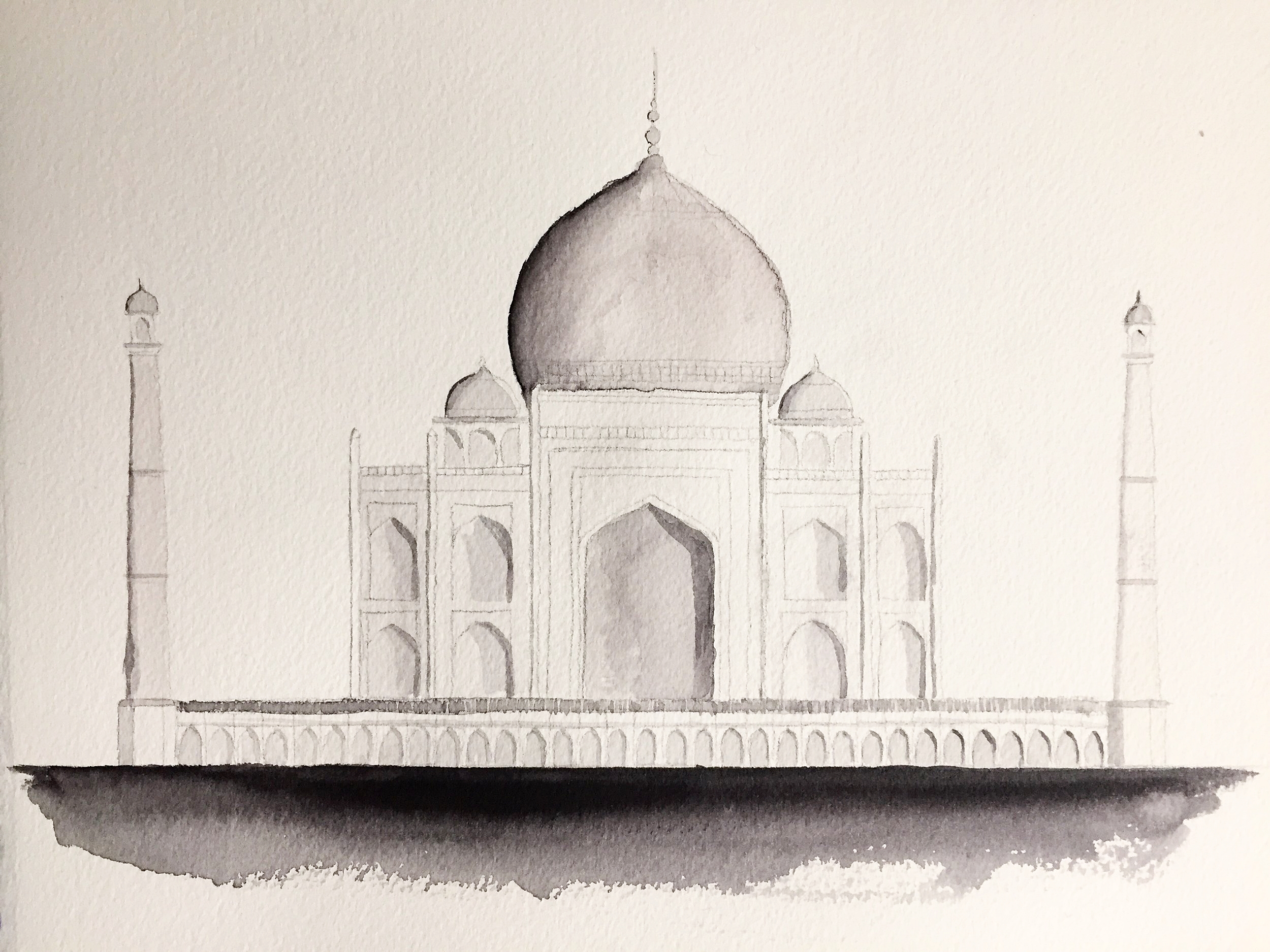 Elevation of the Taj Mahal. Watercolor on Arches paper.
