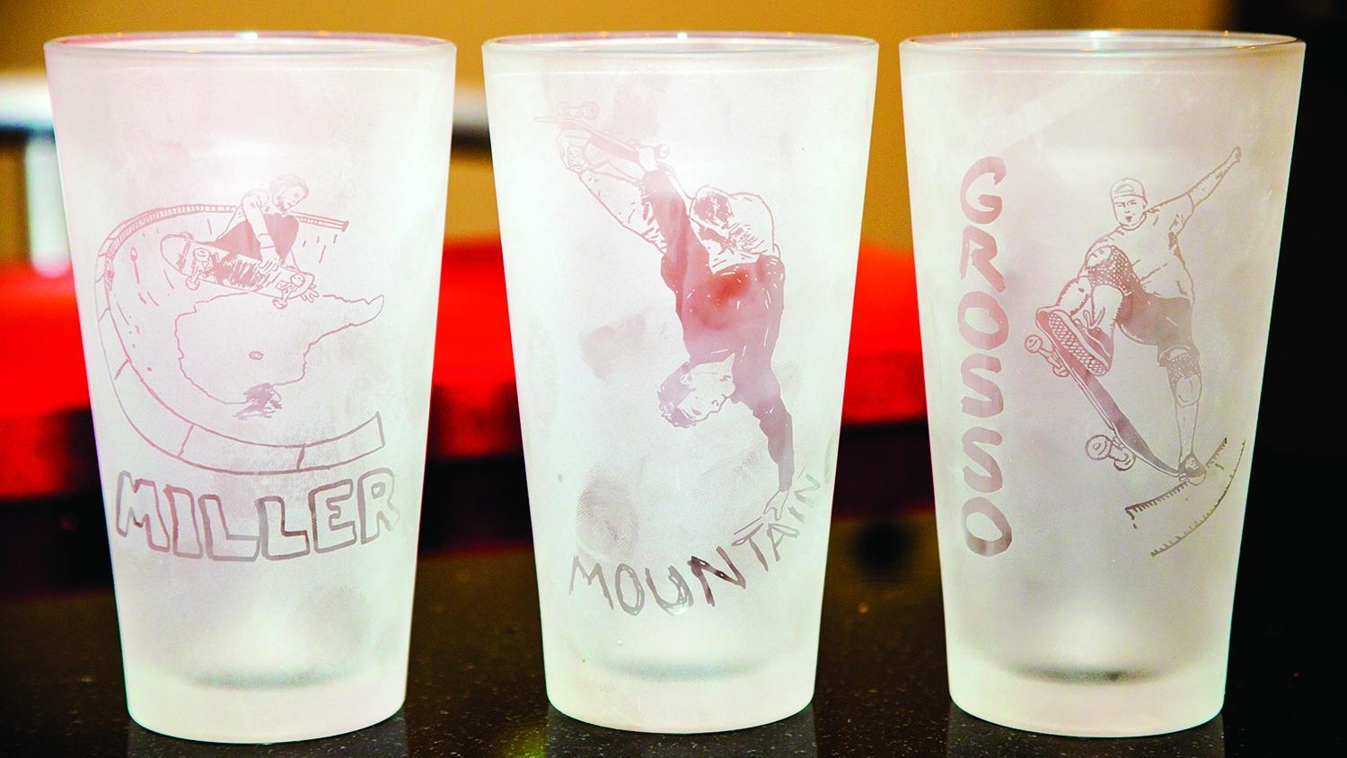 Skate Legends Pint Glasses featuring Professional Skateboarders Chris Miller, Lance Mountain & Jeff Grosso.