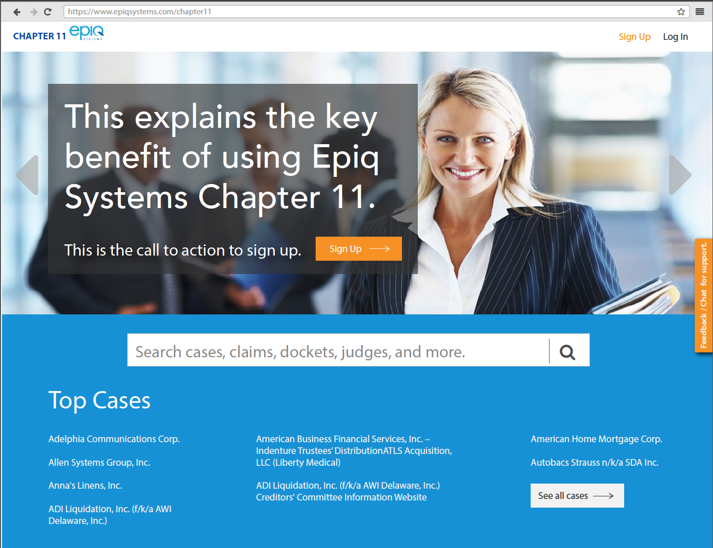 chapter 11 landing page   Search corporate restructuring cases and stay up-to-date with claims, dockets, and other information.