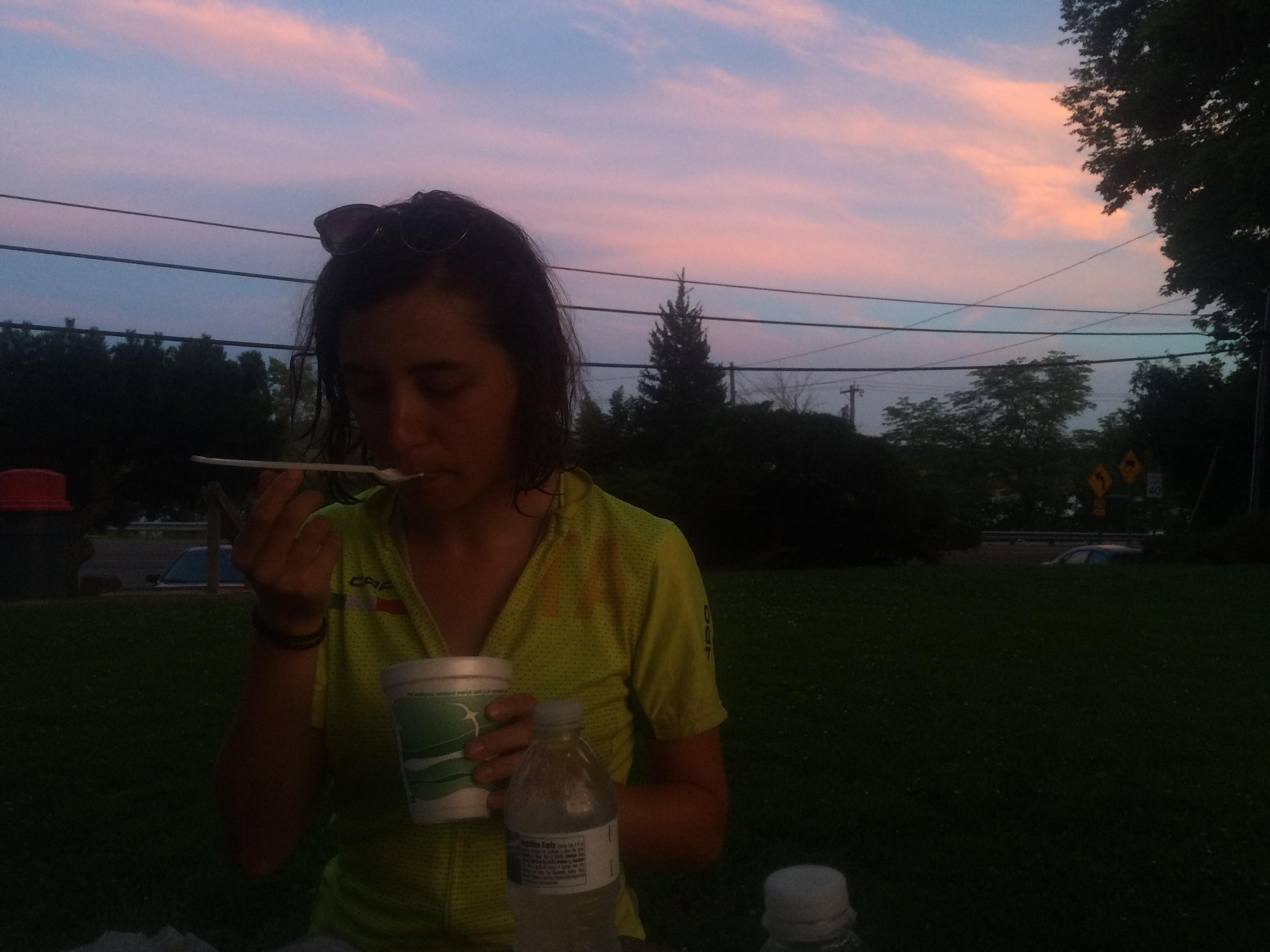 Ice cream + sunsets yum yum