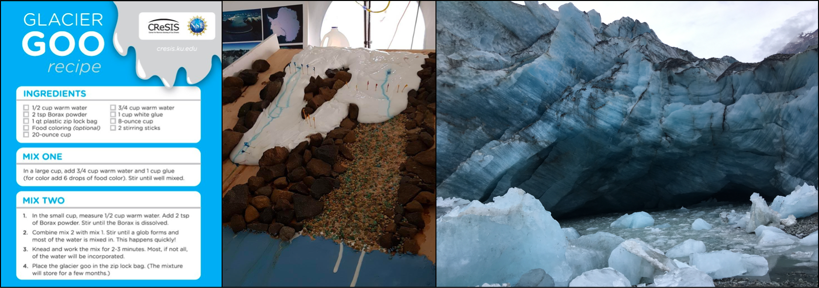 "DIY ""glacier goo"" instructions (from CReSIS), a ""glacier goo"" experiment in action (from Mariana Esteves of Lamont-Doherty Earth Observatory), and a glacier (taken by our very own Elizabeth Case in Glacier Bay during her 2019 summer field research)."