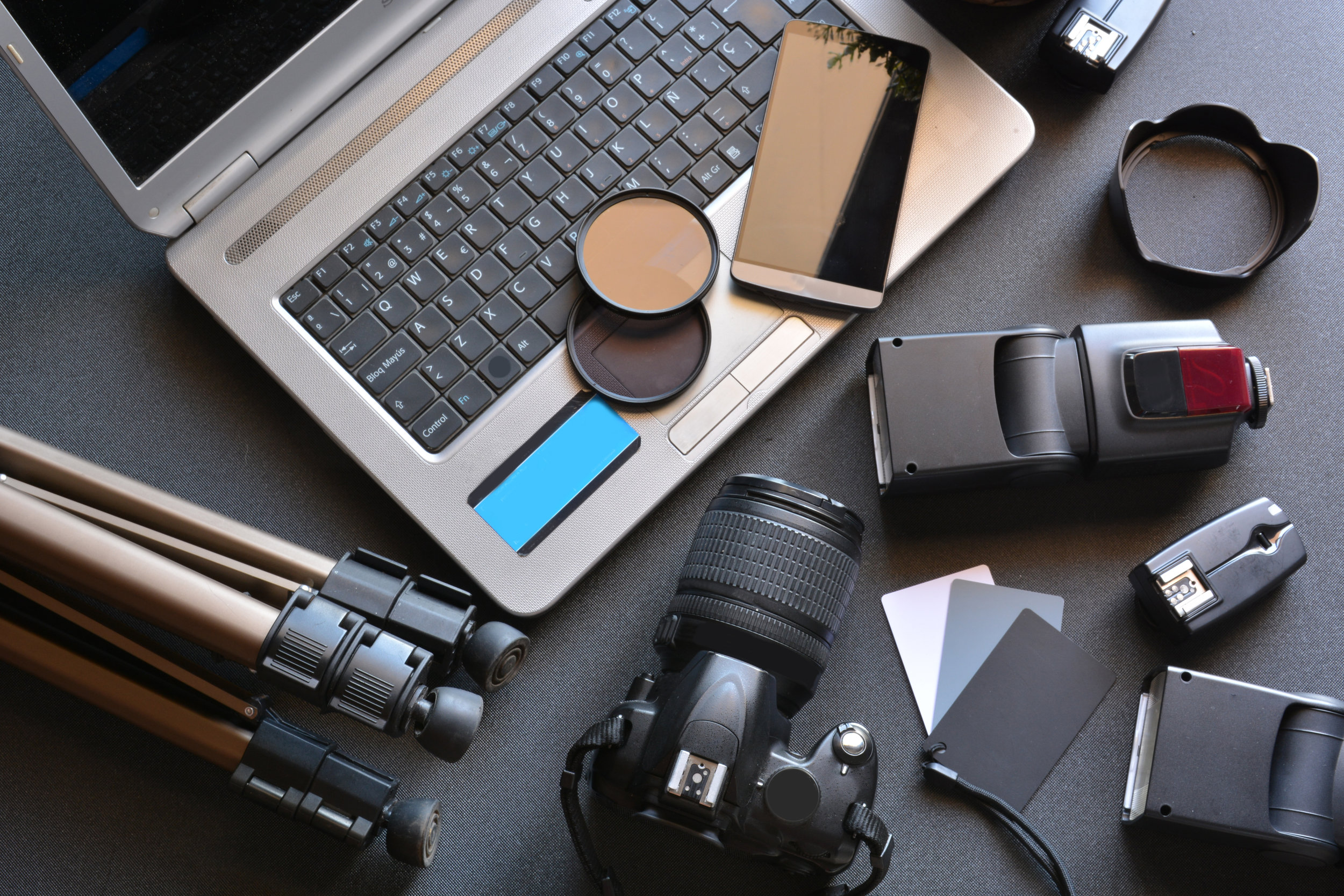 desktop with photography equipment