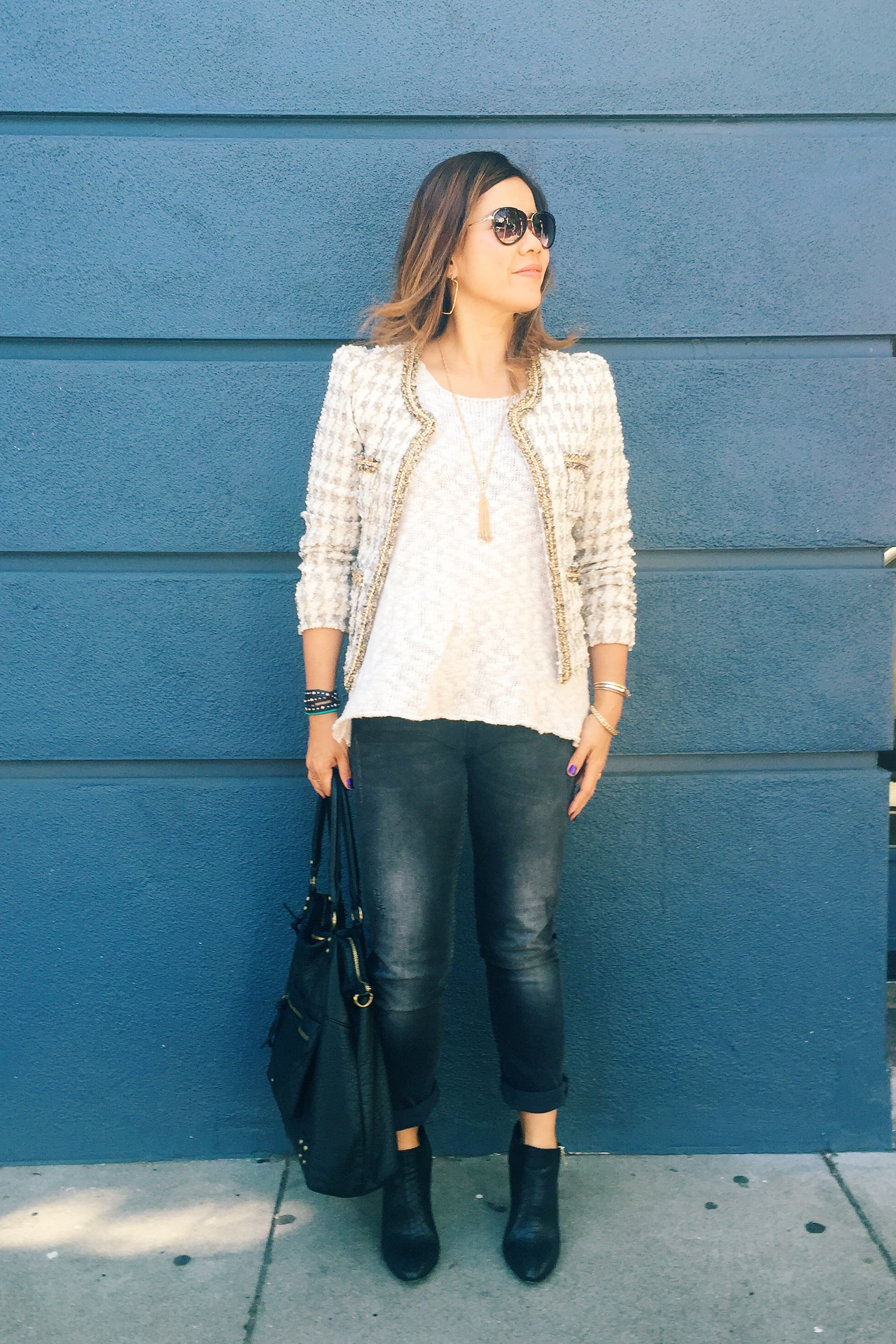 Basics with a tweed jacket for a day trip in San Francisco. Jacket (last fall) is from  Nordstrom , tank top and jeans are from  ANINE BING , booties (last fall)are from  AnnTaylor .