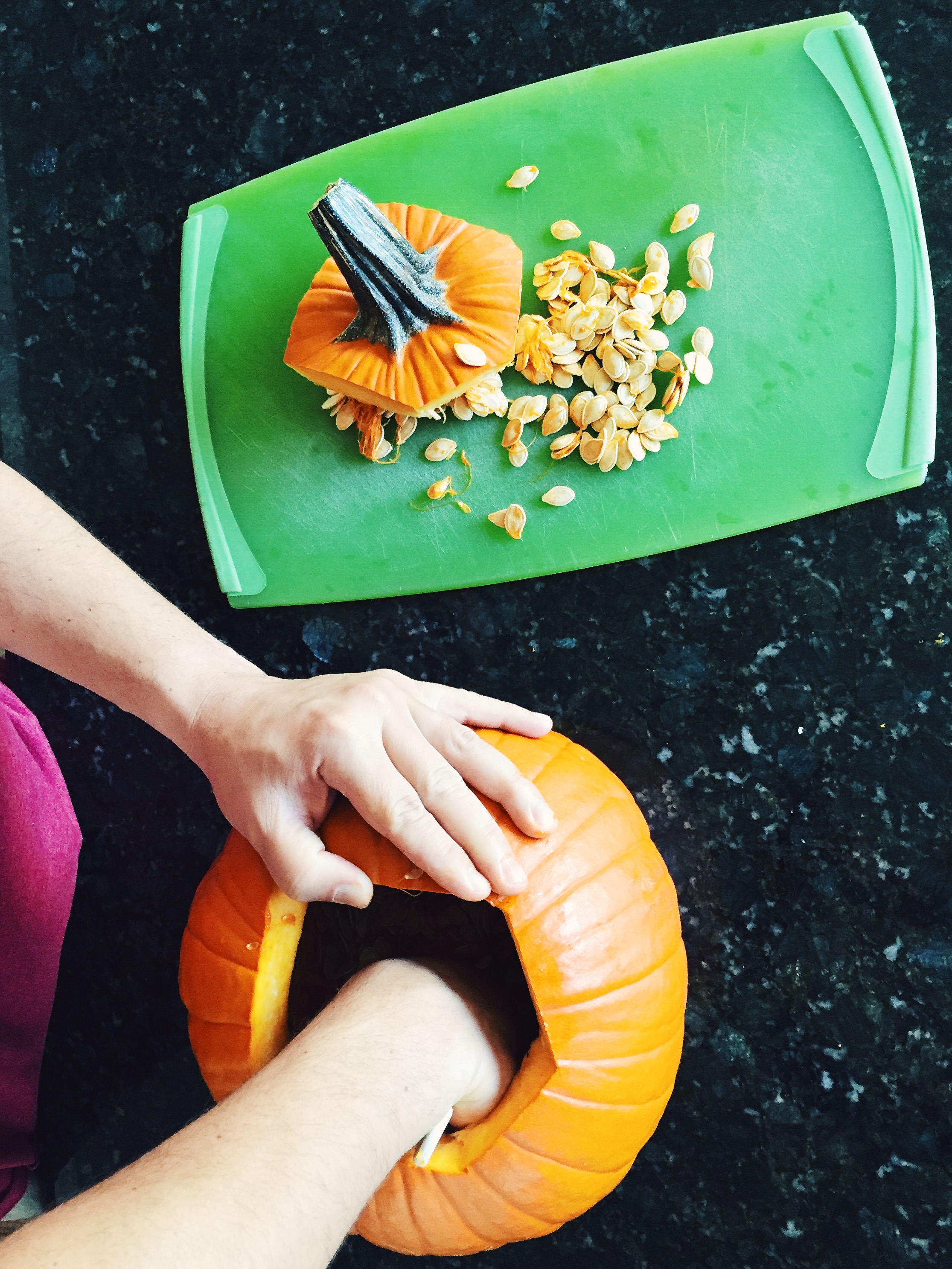 Clean out inside of pumpkin of all pumpkin seeds and fringy, stingy stuff. Rinse inside.