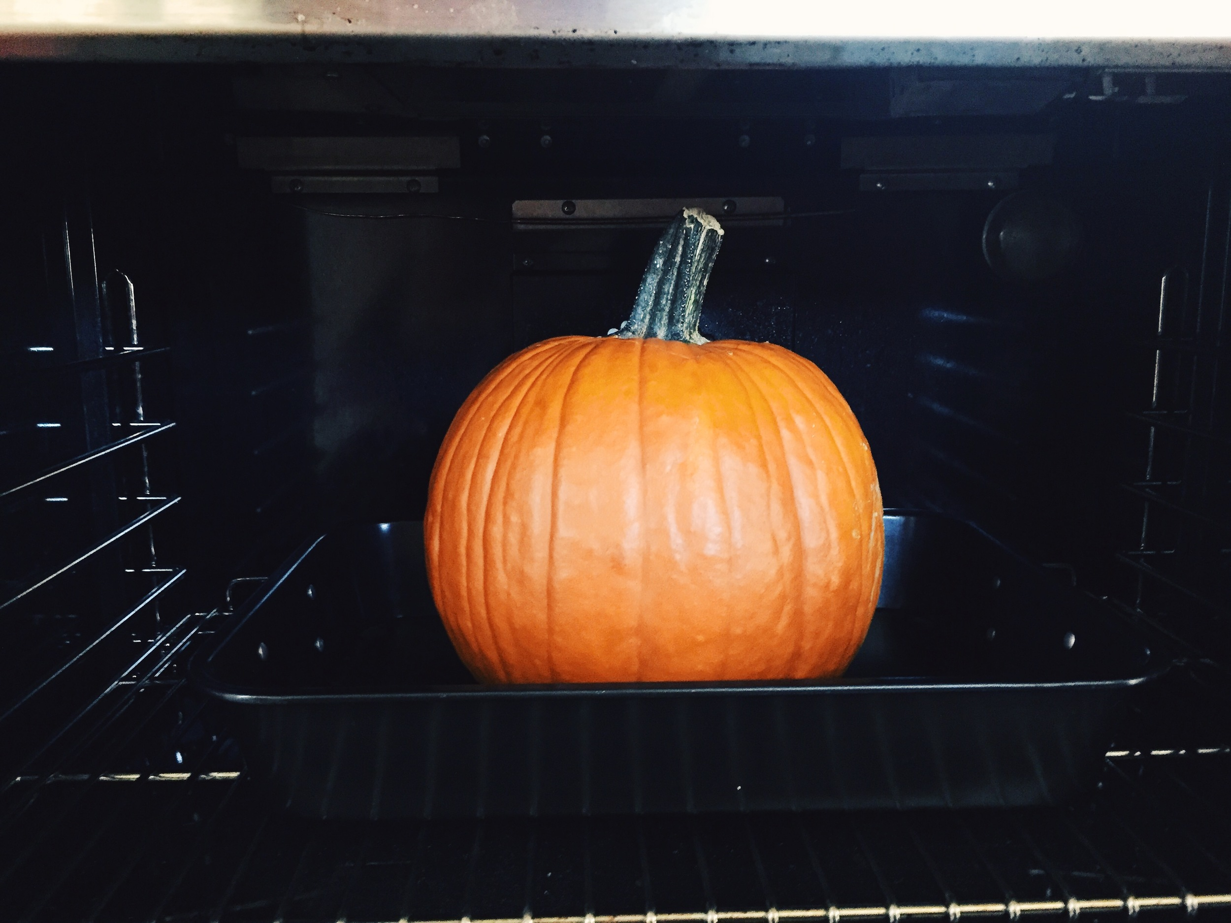 Cook at 350 degree for approximately 2 hrs or until meat of pumpkin is tender.