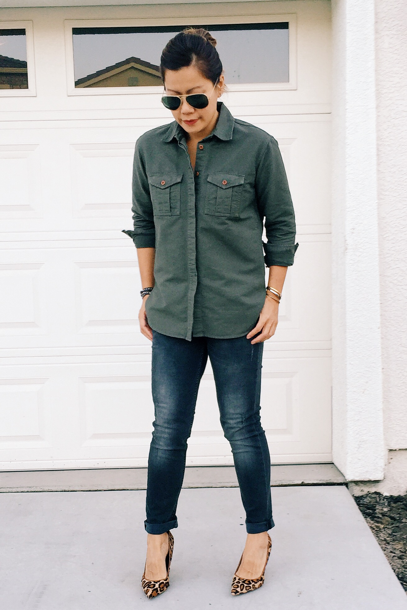 Army denim shirt from Madewell (similar  here) .  Leopard pumps  from Sam Edelman.