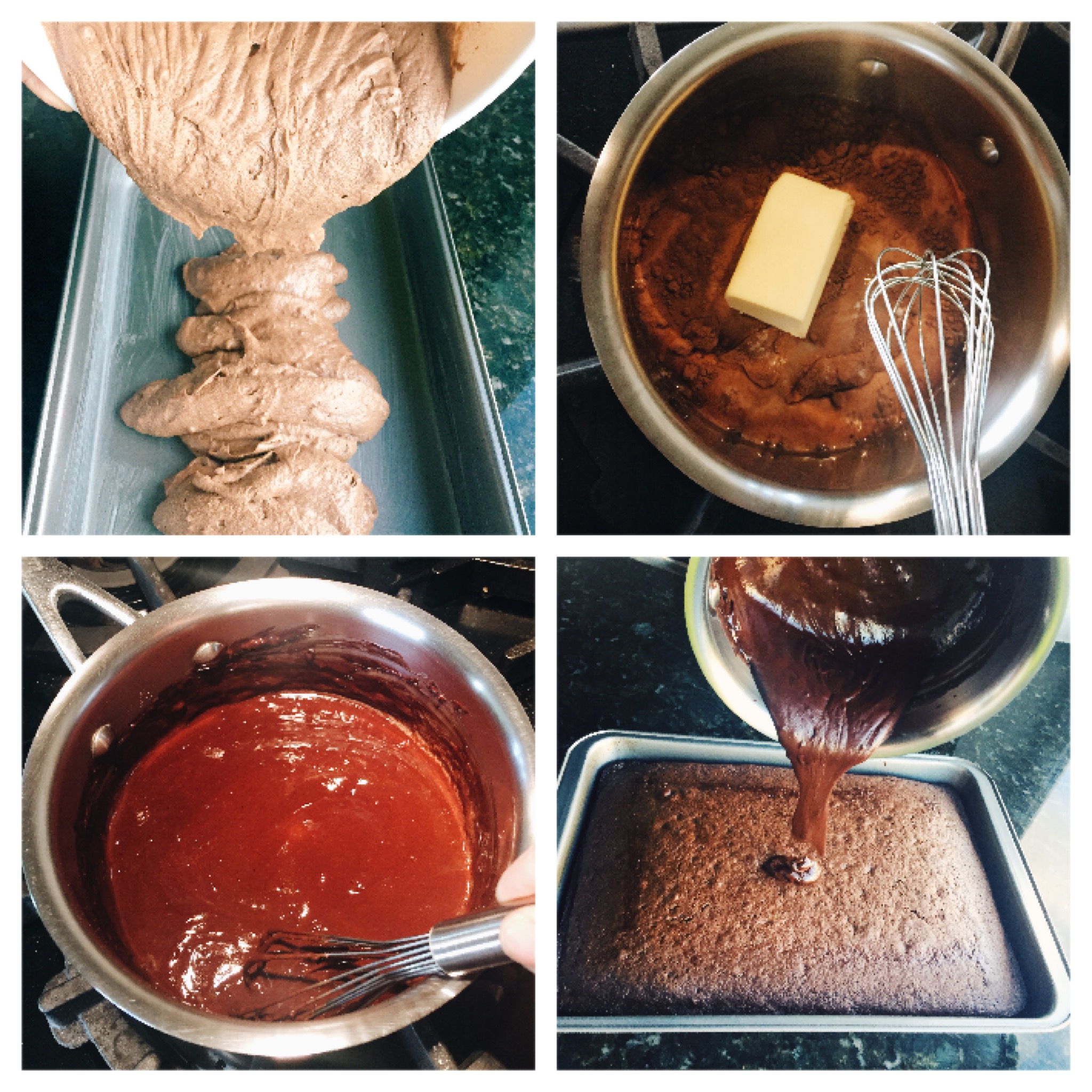 Prepare cake mix. For the chocolate frosting - 3 tbsp unsweetened cocoa, 3 tbsp of any milk, 1 1/2 tbsp butter, 2 tbsp sugar. Mix all ingredients in a saucepan at medium heat until homogeneous. Pour the frosting on the top of the cake and dig in!