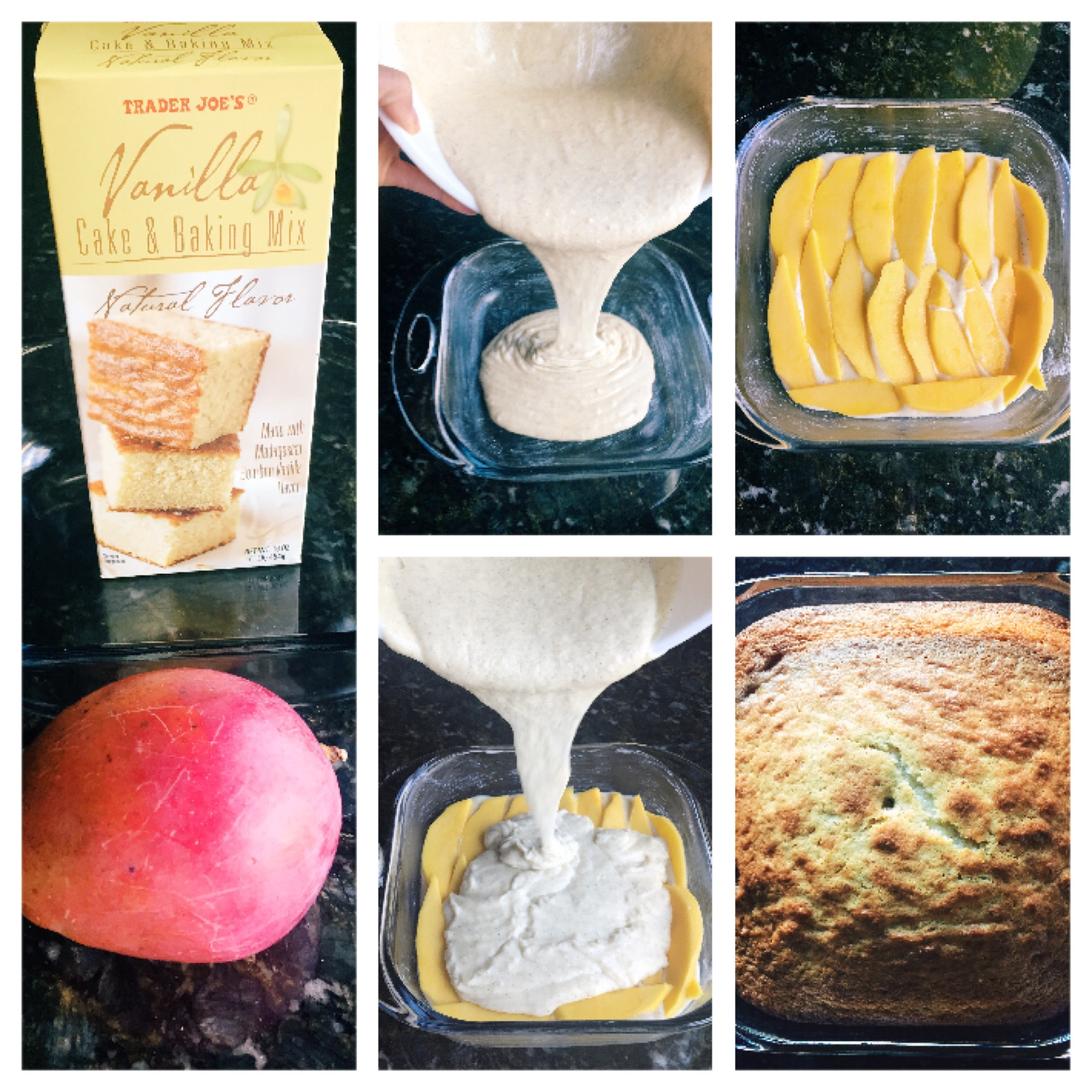Prepare cake mix. Cut mango into thin slices. Pour half of the batter in to the baking pan. Add mangos on top then pour the rest of the batter on top. When it's done pair it with any topping you like. This cake is perfect for those who don't like frosting on their cake.Note: I got this recipe from my friend Christina who always make this cake for her daughter's birthday.