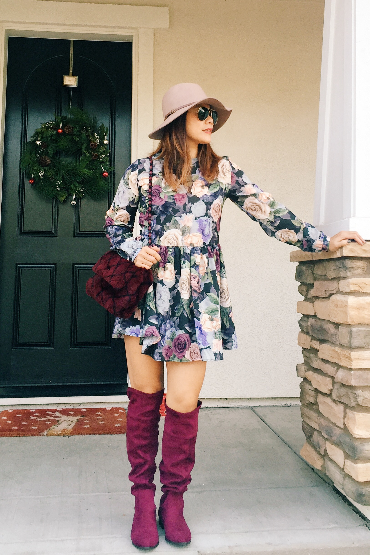 Nordstrom  hat /  ANINE BING  dress /  Shoedazzle  OTK boots/  Rice and Beans  Vintage Chanel bag