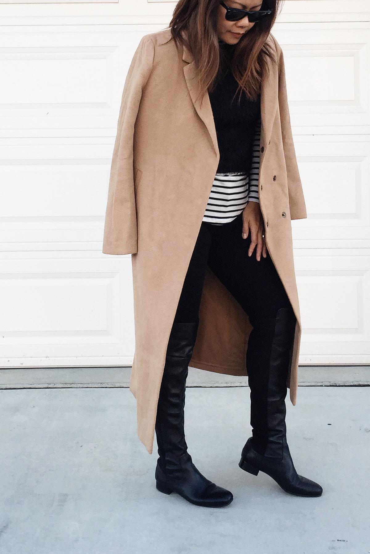 Forever21  coat (old) /  Old Navy  stripes shirt /  Nordstrom  OTK boots