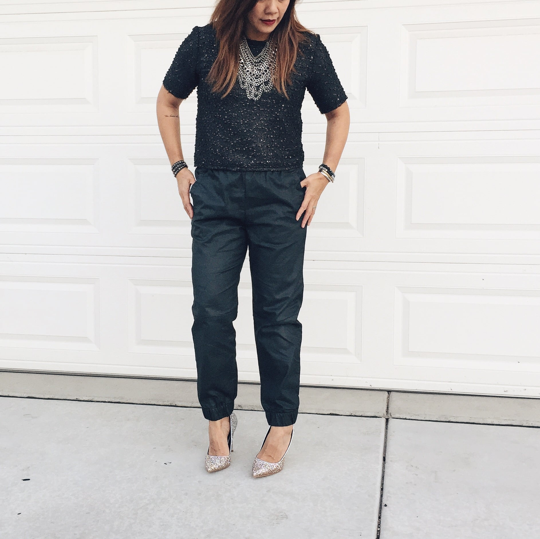 Nordstrom top (similar  here)  - Gap pants (similar  here ) - Bauble Bar  statement necklace  - Nordstrom pumps (similar  here )