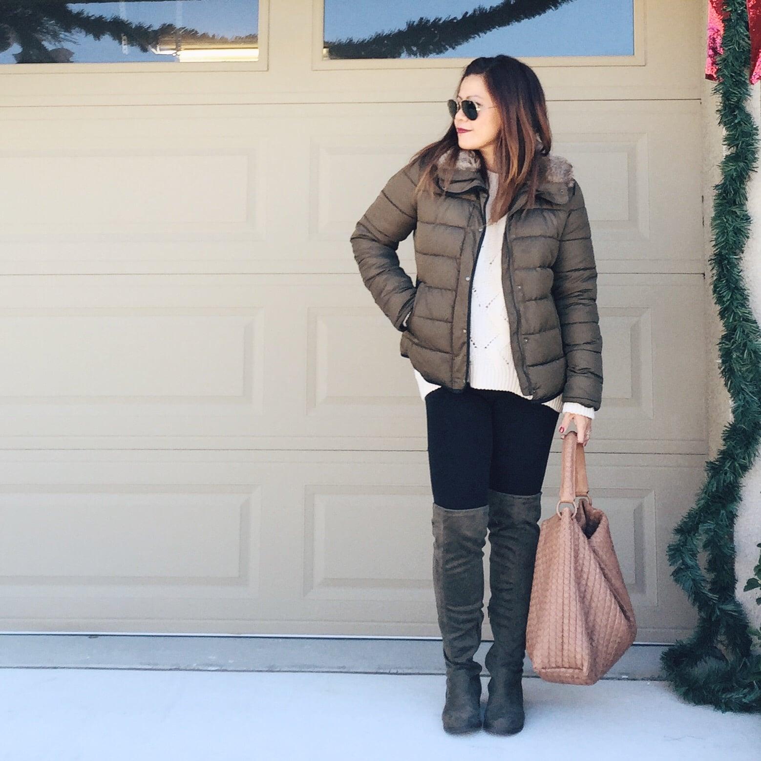 Old Navy jacket (similar  here ) - H&M  sweater  - Gap  skinny pants  -Shoedazzle  OTK boots