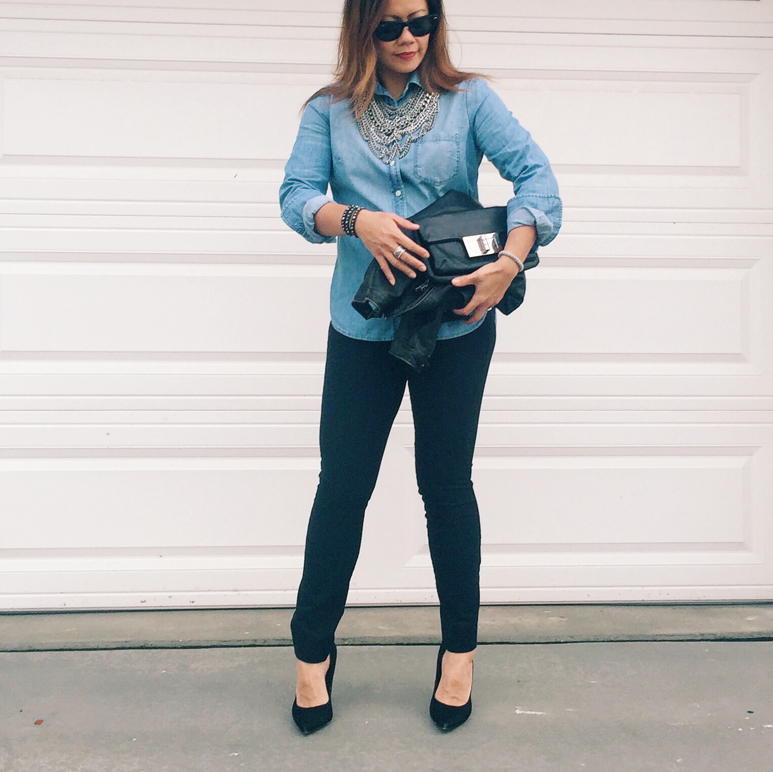 J. Crew   chambray shirt -   Gap   skinny pants -   Bauble Bar   statement necklace -   Sam Edelman   pumps.