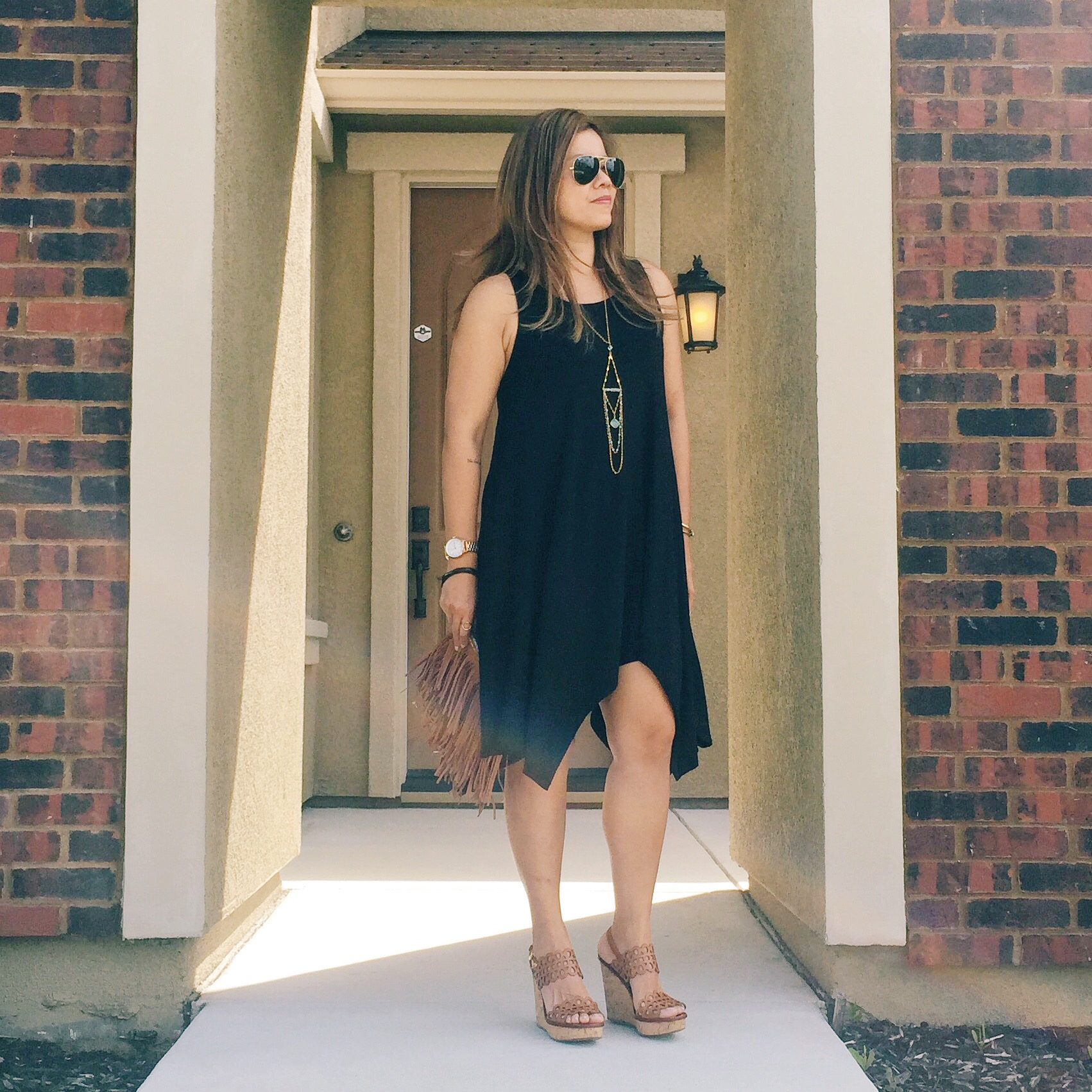 The date night look with  La Vida solid jersey sleeveless dress    / Necklace smilar  here