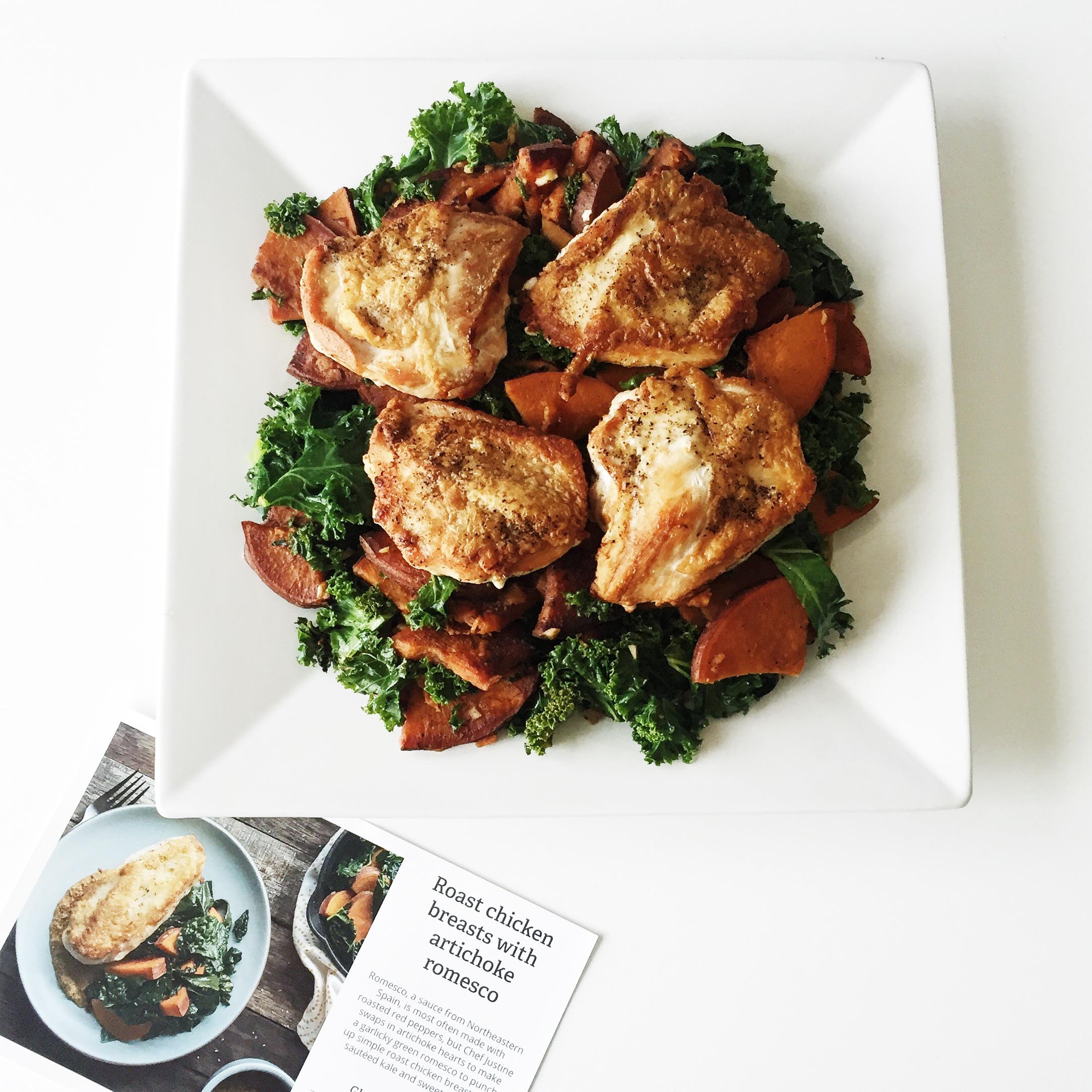 Roast chicken breast with artichoke romesco.