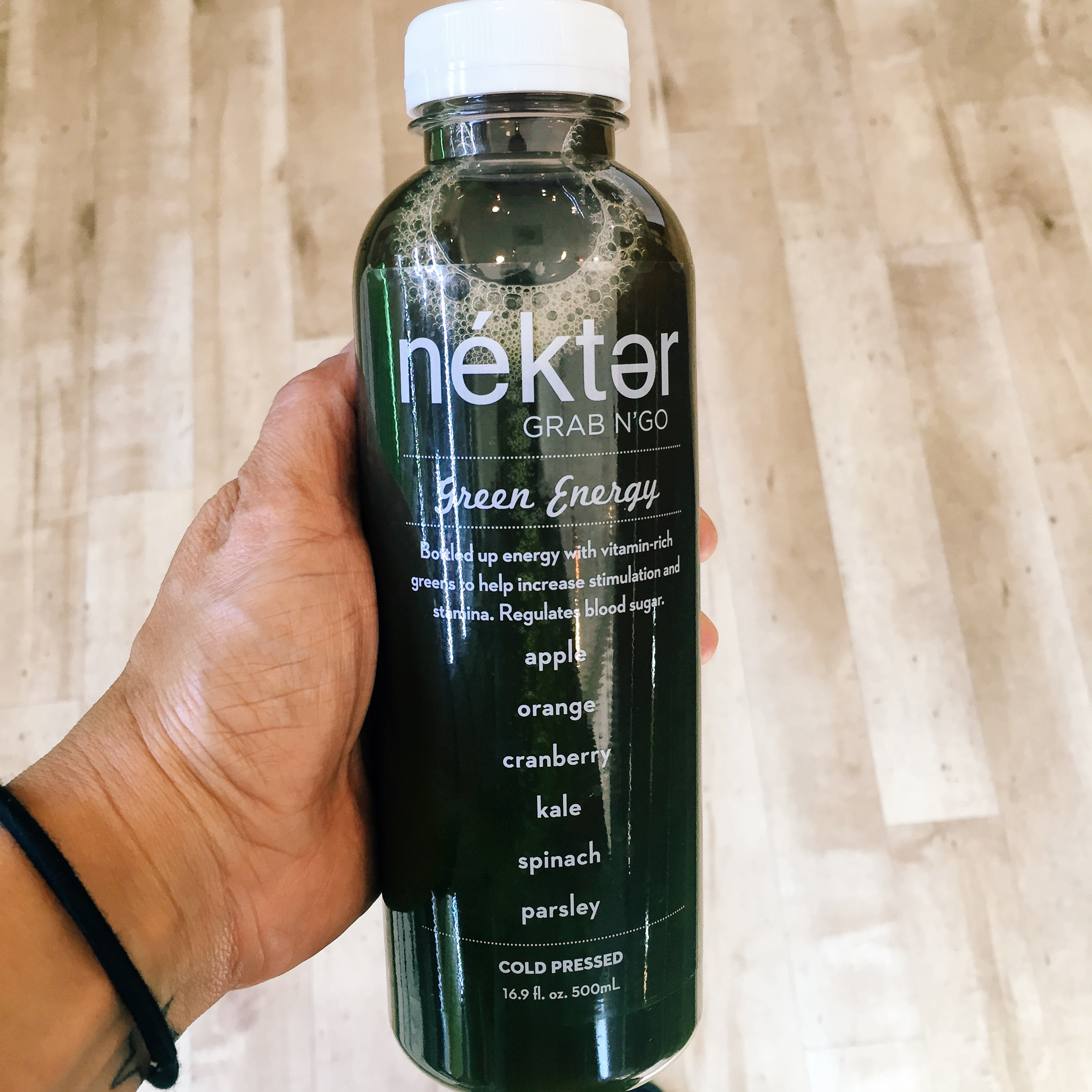 Afternoon pick me up: green energy juice.
