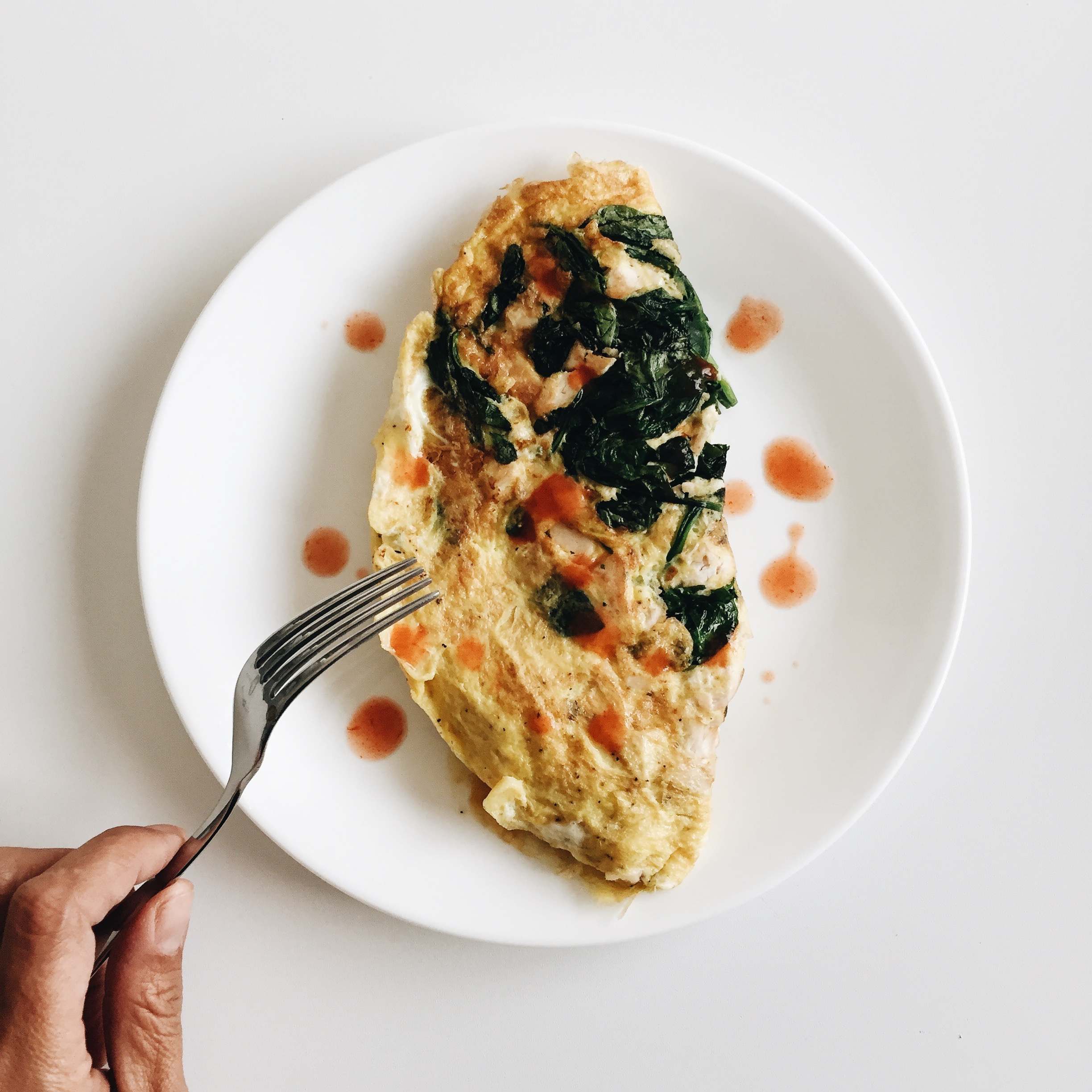 Breakfast: spinach and leftover roasted chicken omelette.