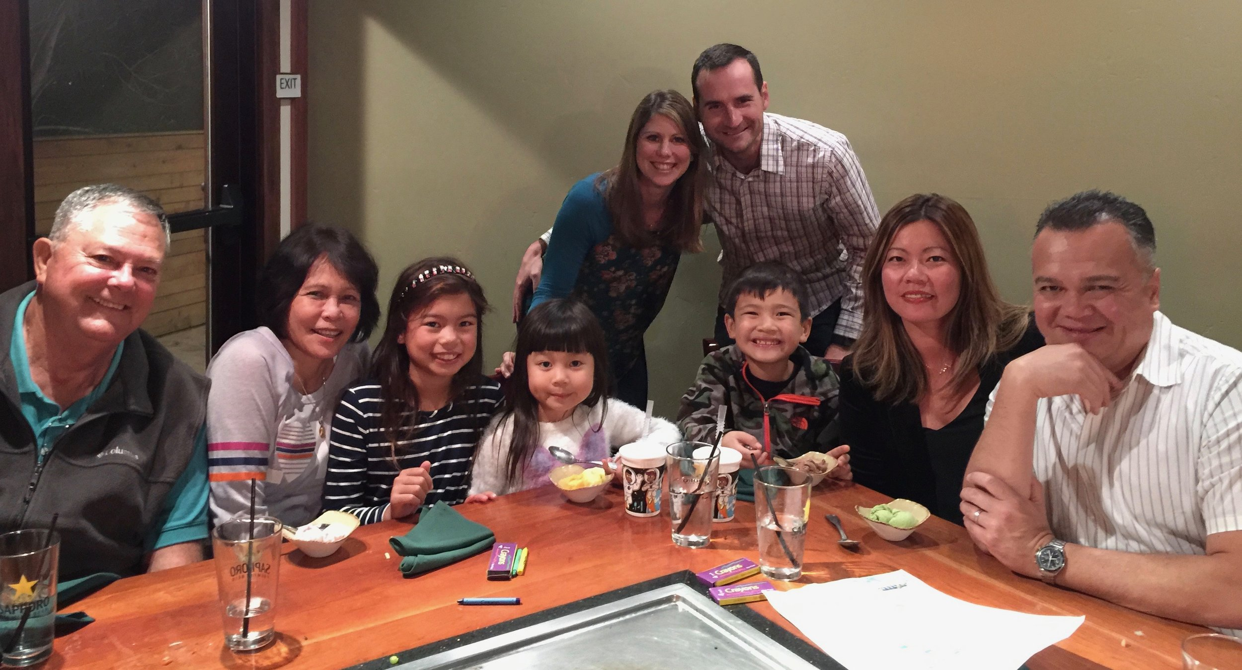 This was us on Saturday night with the family. We went to a local Teppanyaki restaurant and the couple in the back sat at our table. Prior to seating, they were complete strangers. By the end of the meal, we were friends and they too joined Patricia for her birthday. Fun night.