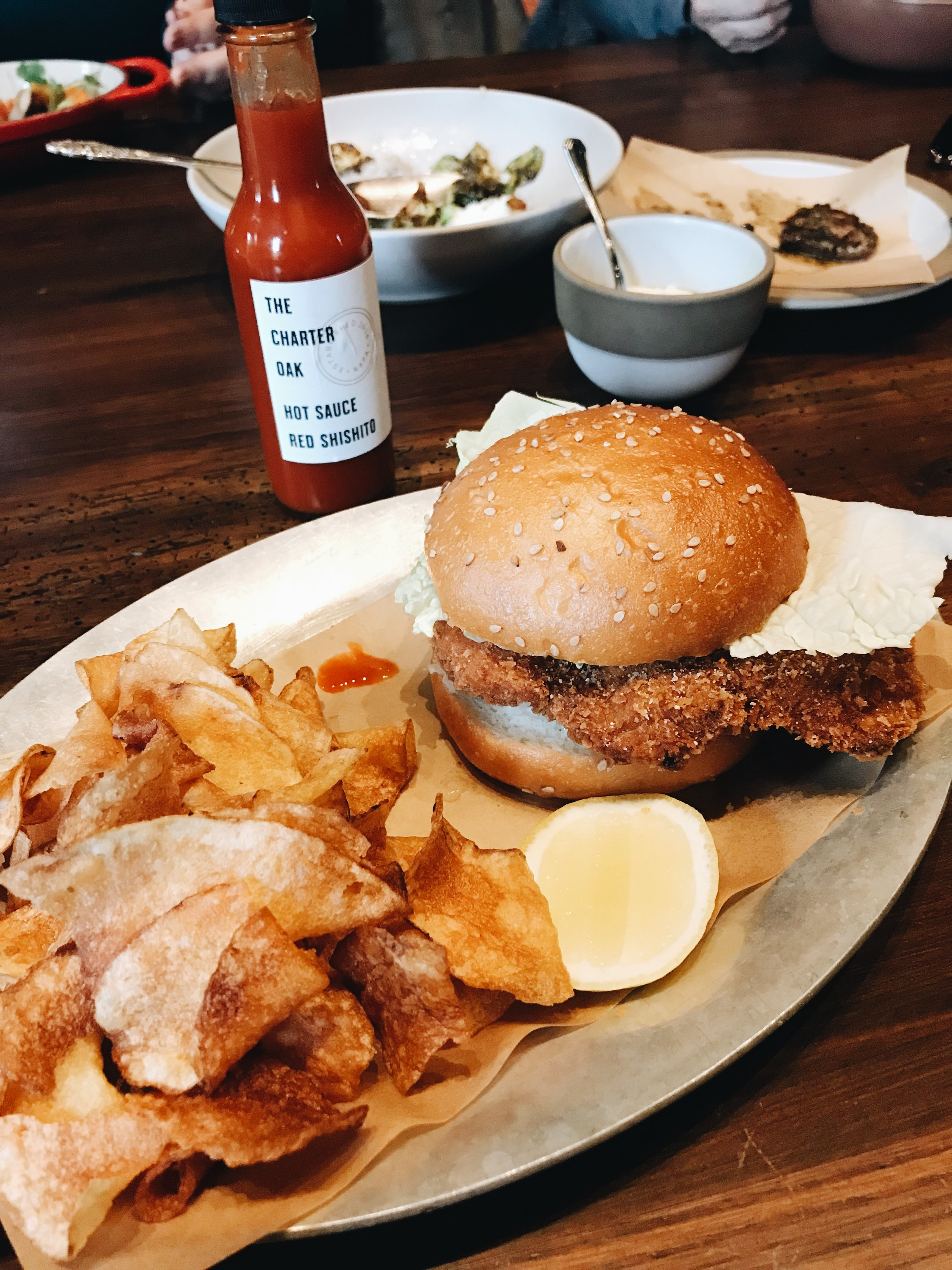 Momlikethat - The Charter Oak Restaurant fried chicken sandwich.JPG