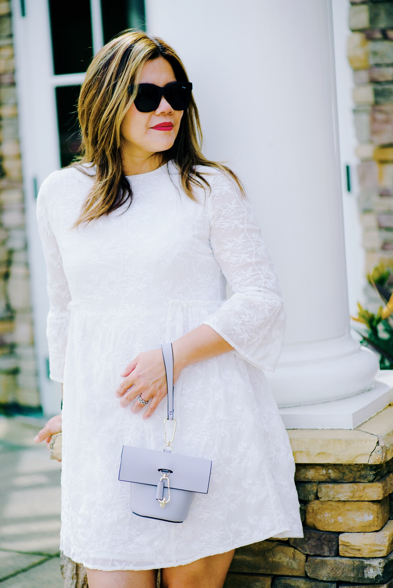 momlikethat white lace dress mango with zac posen bag.JPG