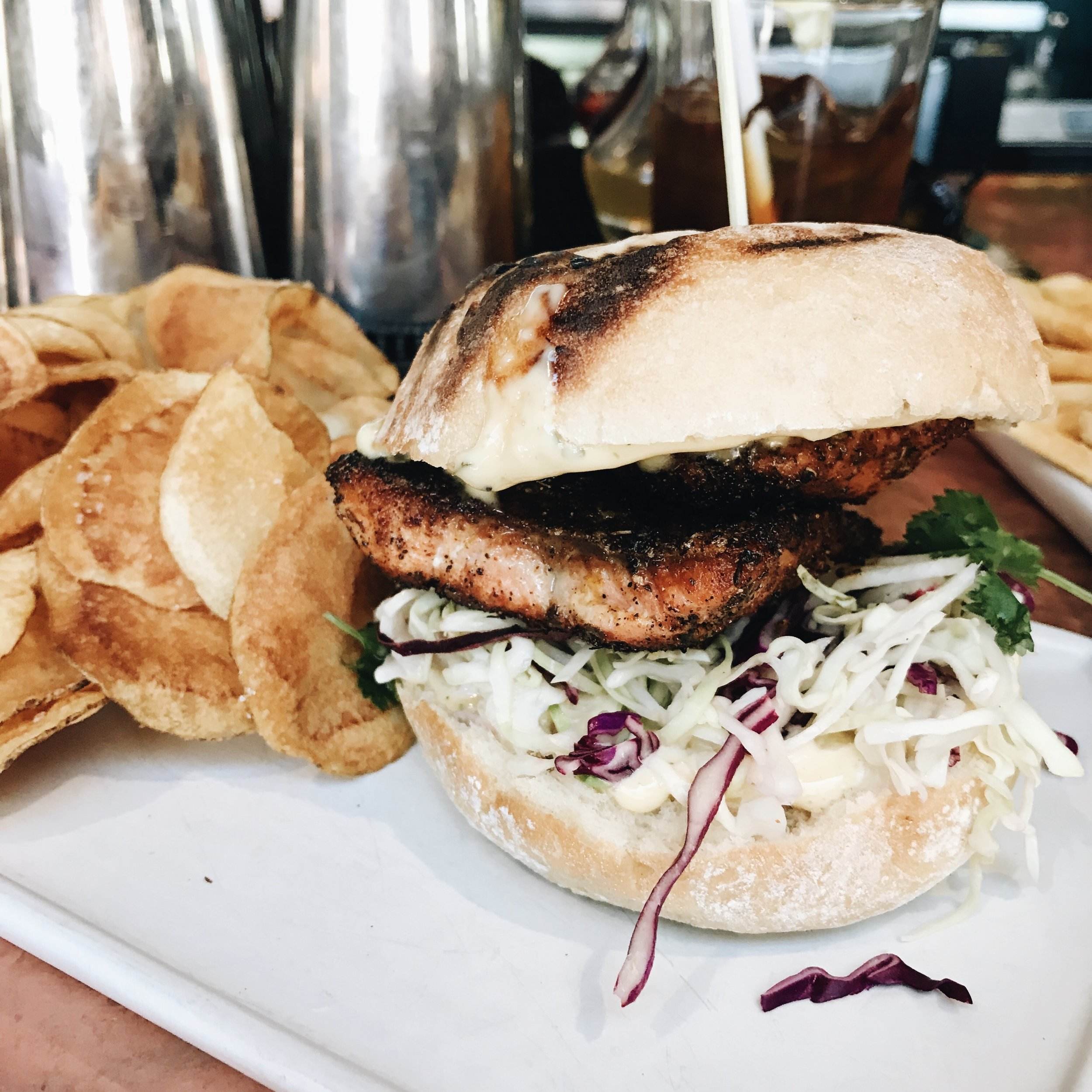Blackened Alaskan Sockeye Salmon sandwich from  Warfield Distillery & Brewery
