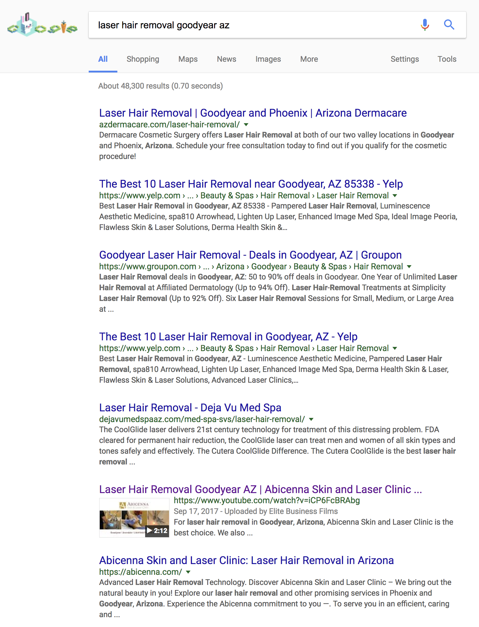 Abicenna Skin & Laser Clinic - Page 1 in Google Search - top videoKeyword: laser hair removal goodyear az