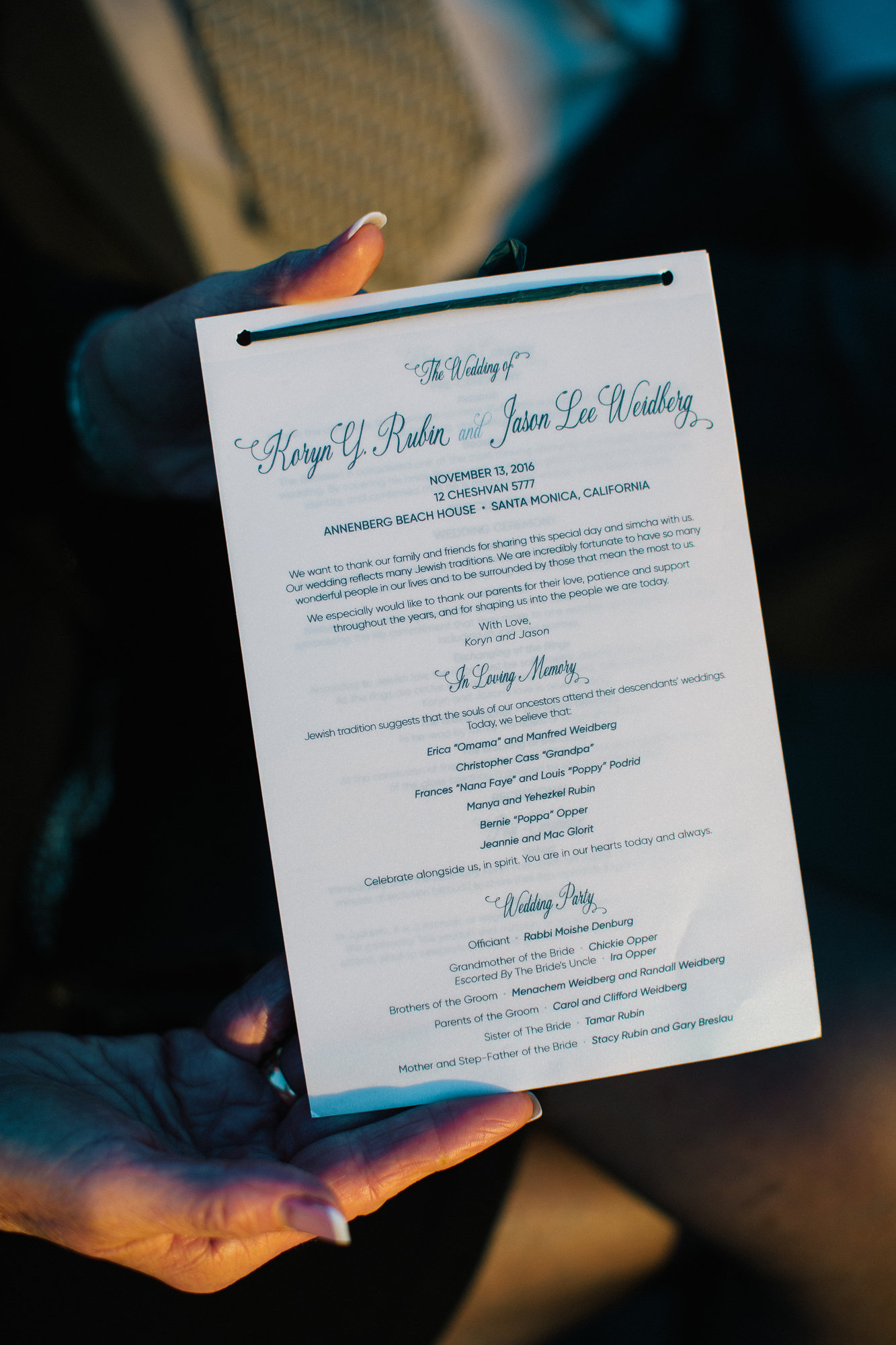 For their custom wedding programs, the first page was printed vellum giving the slightest sneak peak to the inner pages and artwork.