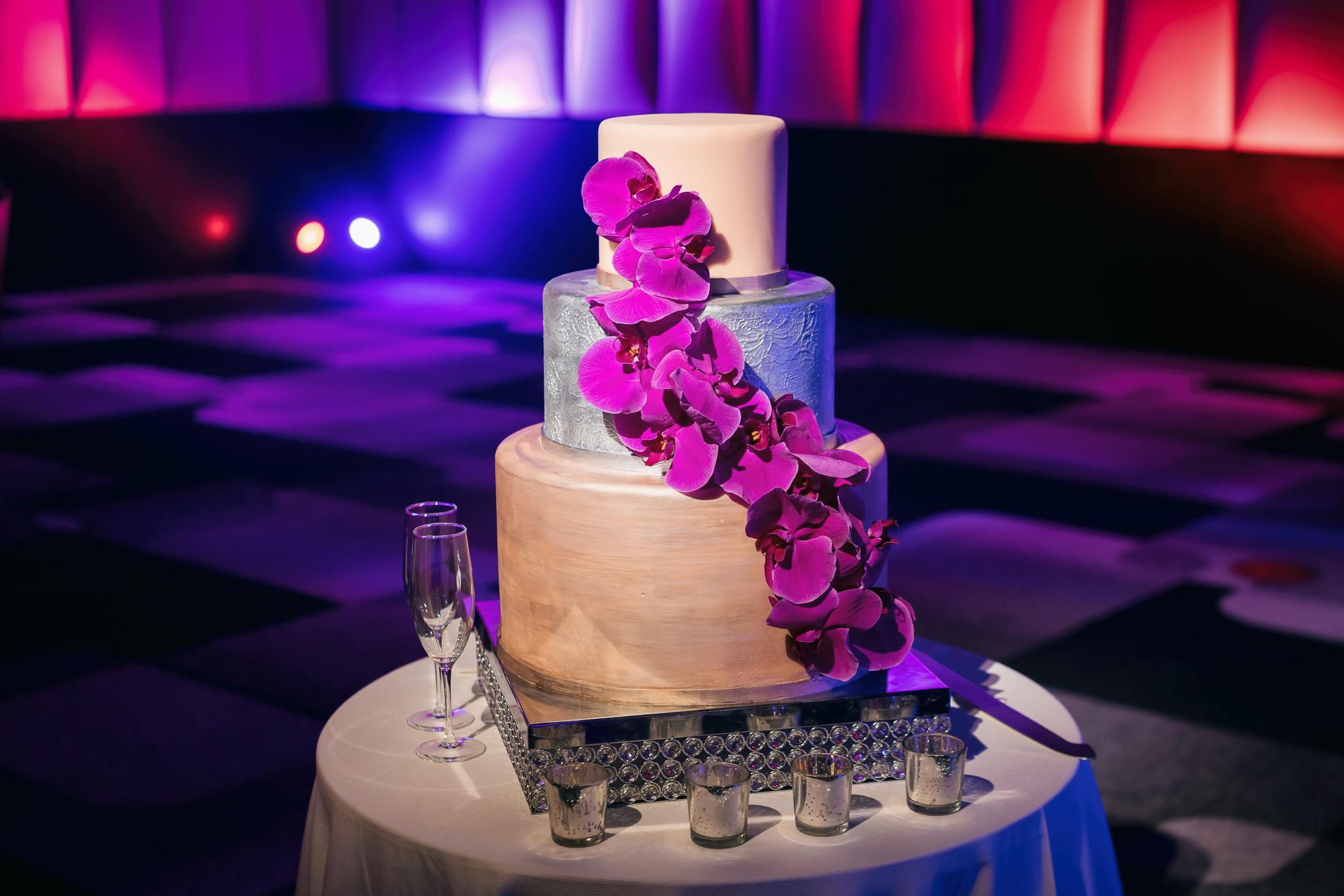Purple Fucsia Orchid Wedding Cake Cedric & Tyler