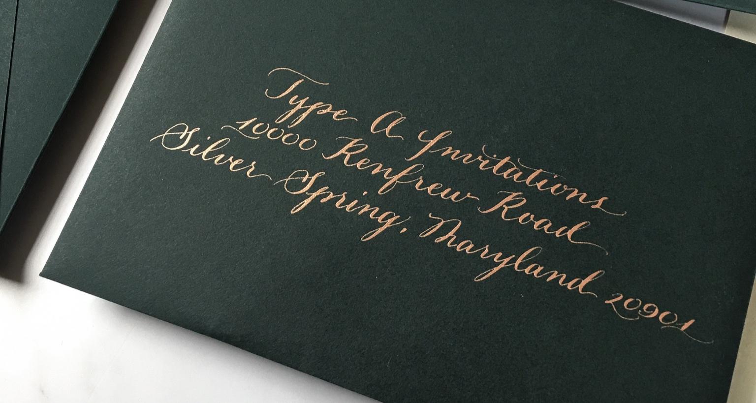Each envelope was hand written with copper metallic ink by Emily van der Linde.