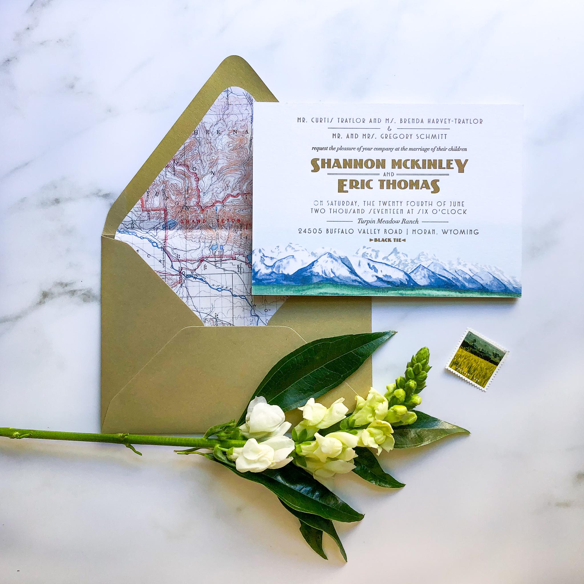 Features Shown: envelope liner, letterpress, custom artwork