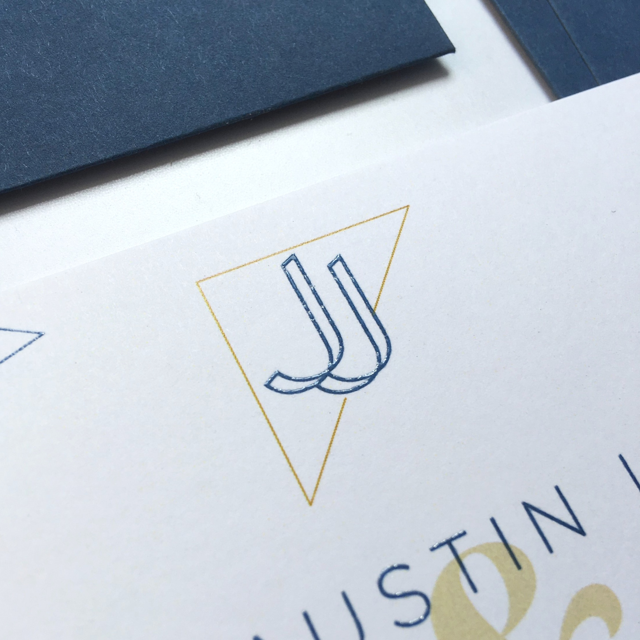 Blue Thermography paired with Digital. Hand Calligraphy on Envelopes.