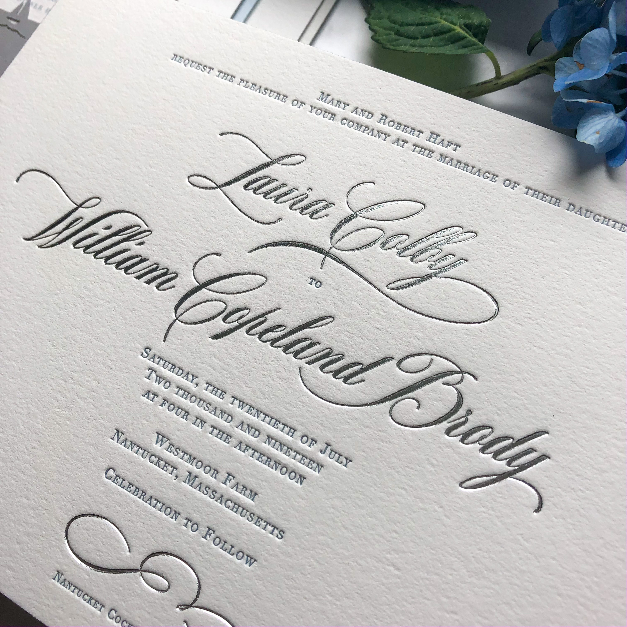 Silver Foil Stamping & Dusty Blue Letterpress. Digital Printing shown on Rehearsal Card and Outer Envelope.