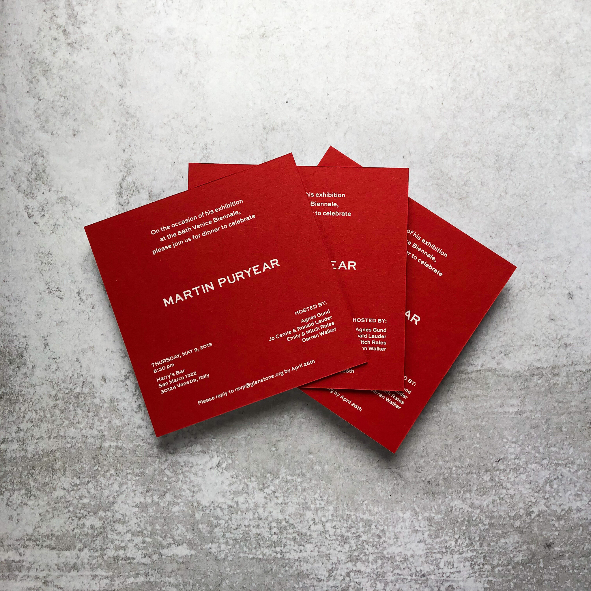 White Foil Stamping on Red Paper. Digital Printing shown on Envelopes.