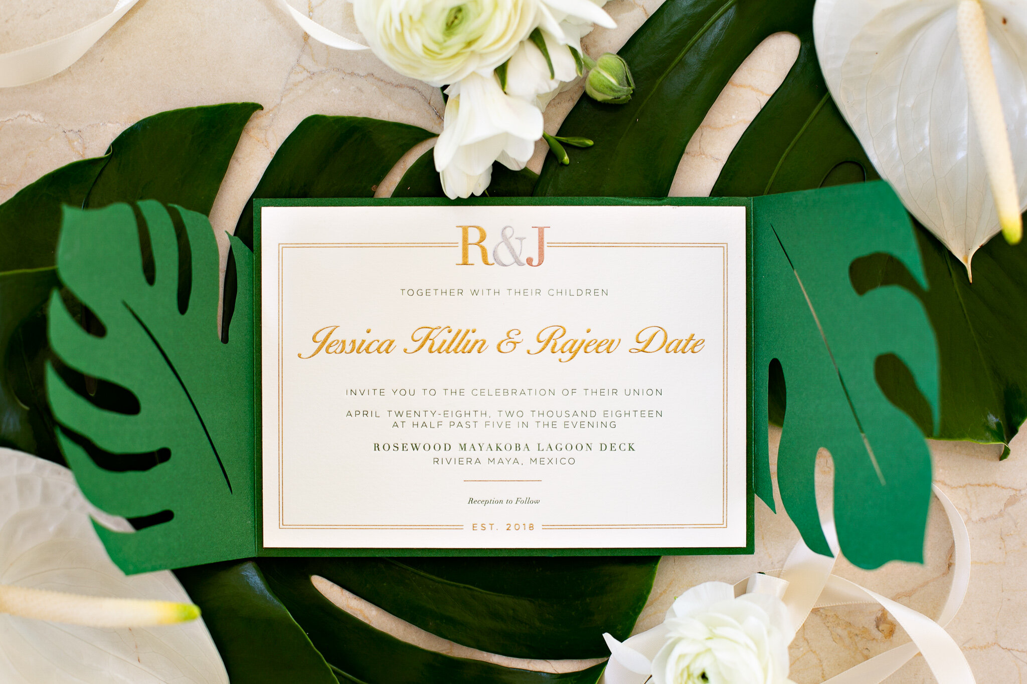 Tri Color Engraving (Gold, Silver, and Rose Gold) and Green Letterpress.