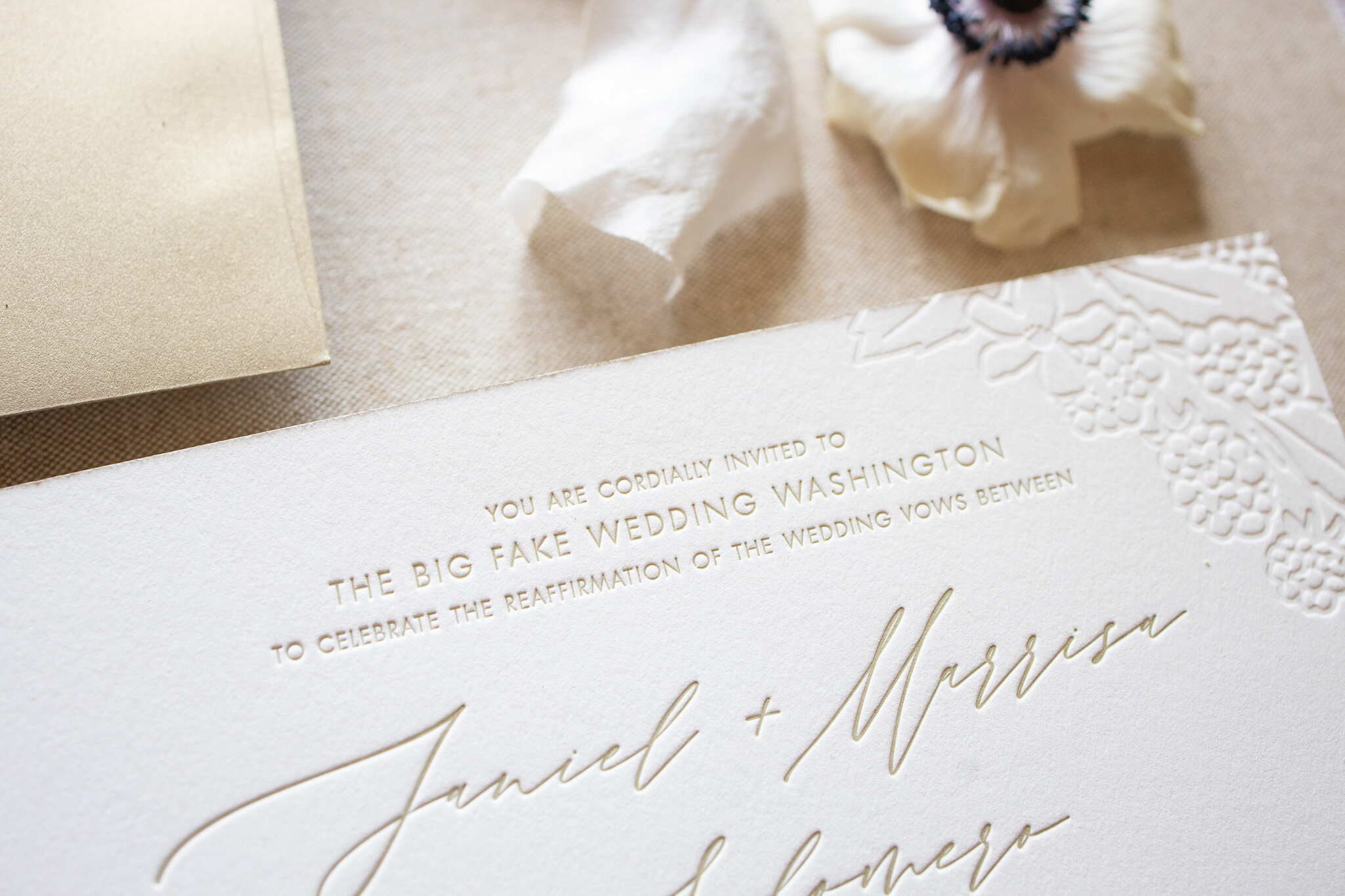 Champagne Gold Letterpress, Blind Debossing, & Digital Printing (wine glass illustrations)