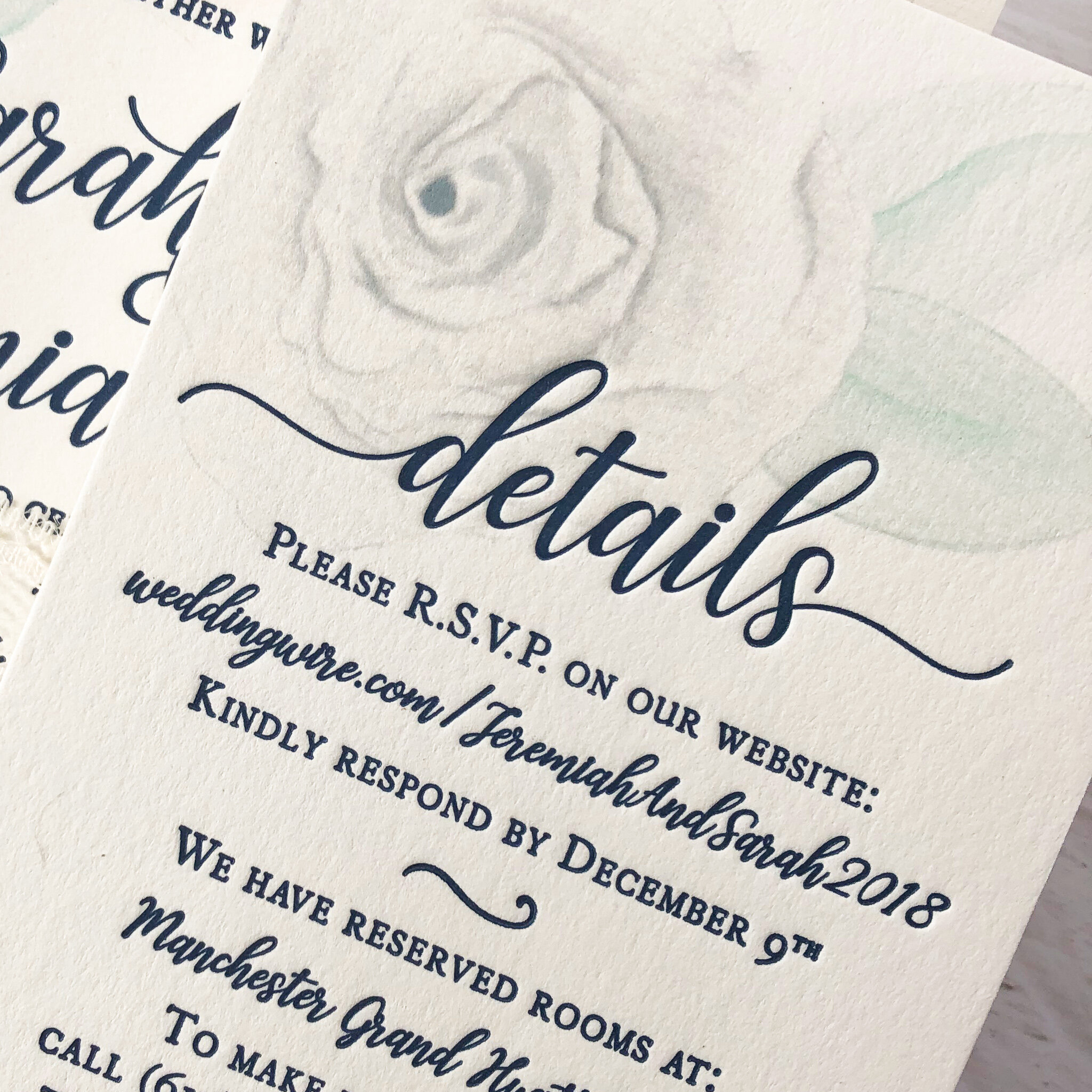 Navy Letterpress with Digital Printing for the Custom Watercolor.