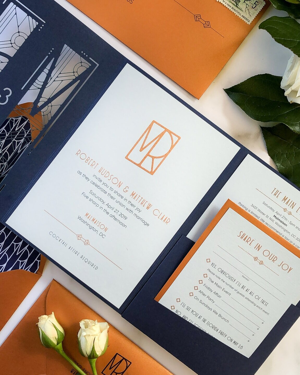 Copper Thermography paired with Digital Printing on all cards. Digital Printing on Envelopes.
