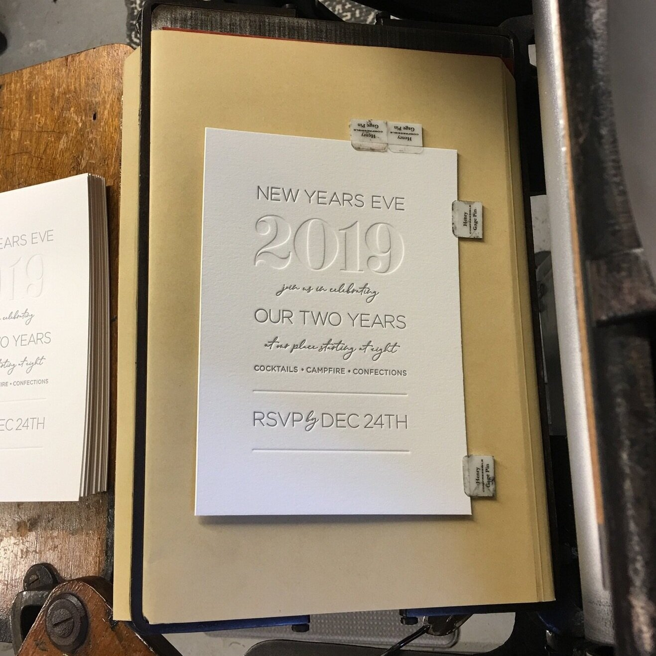 Silver Letterpress with Blind Debossing. Embossing shown on the envelope flap for the return address.