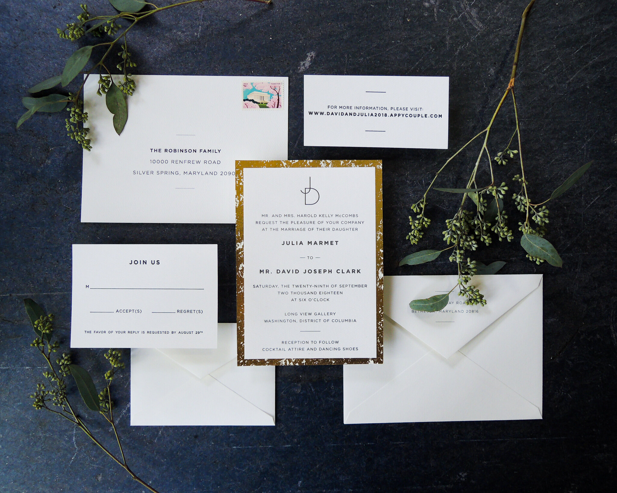 Features Shown: Letterpress, Handmade/Specialty Paper Backing, Two-Sided Digital Addressing
