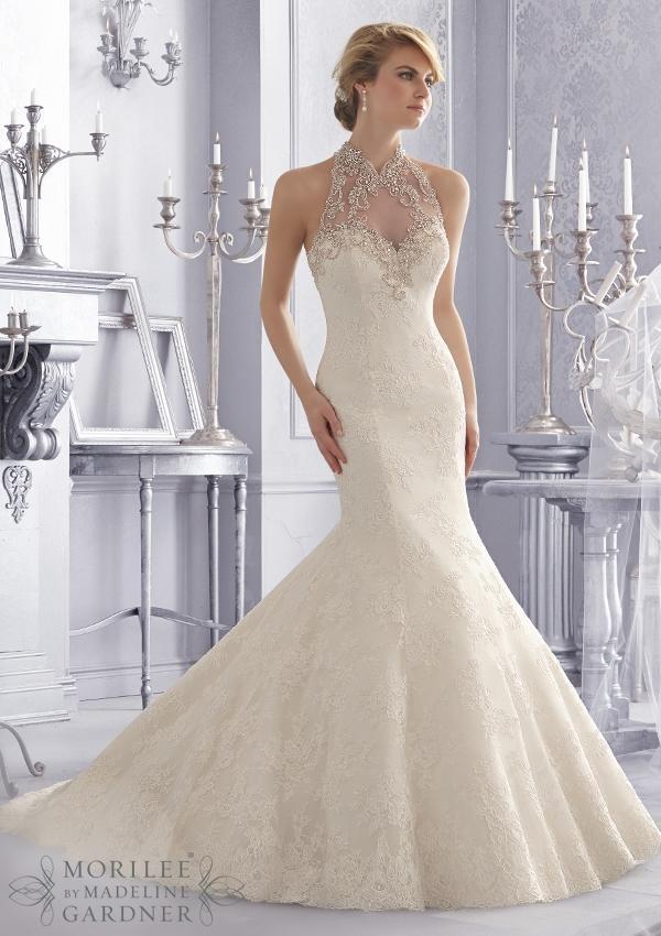 Turtleneck Wedding Dress By Mori Lee's Alencon Lace