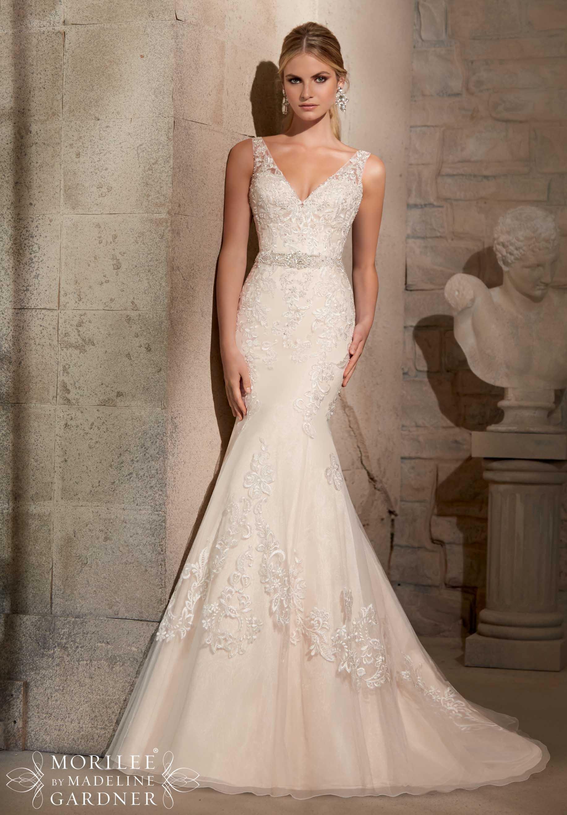V-Neck Wedding Dresses By Mori Lee
