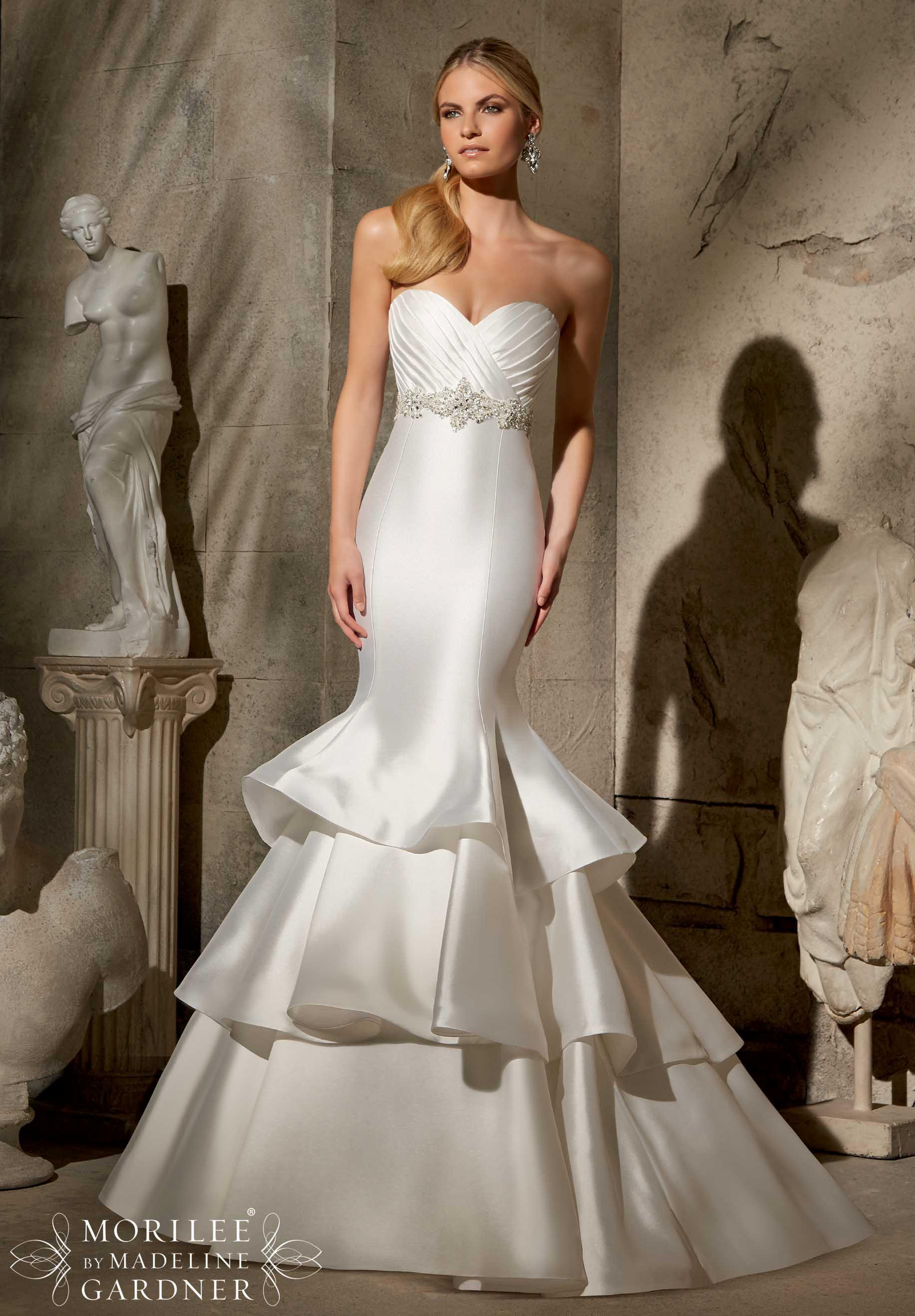Larissa Satin Trimmed Wedding Dresses By Mori Lee