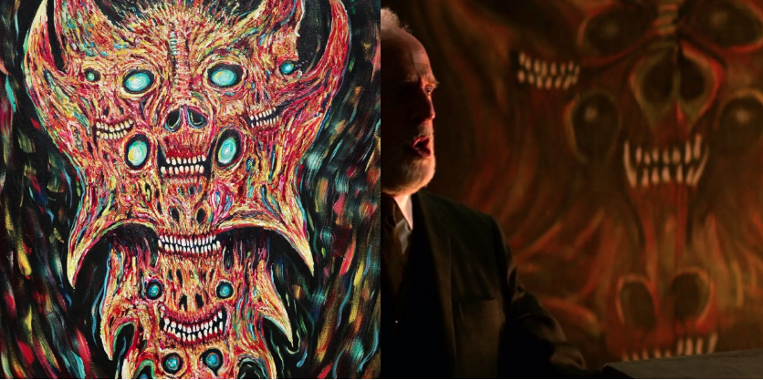 A side by side comparison of the two paintings. My original work, Satan(left) and the painting from The Chilling Adventures of Sabrina(right).